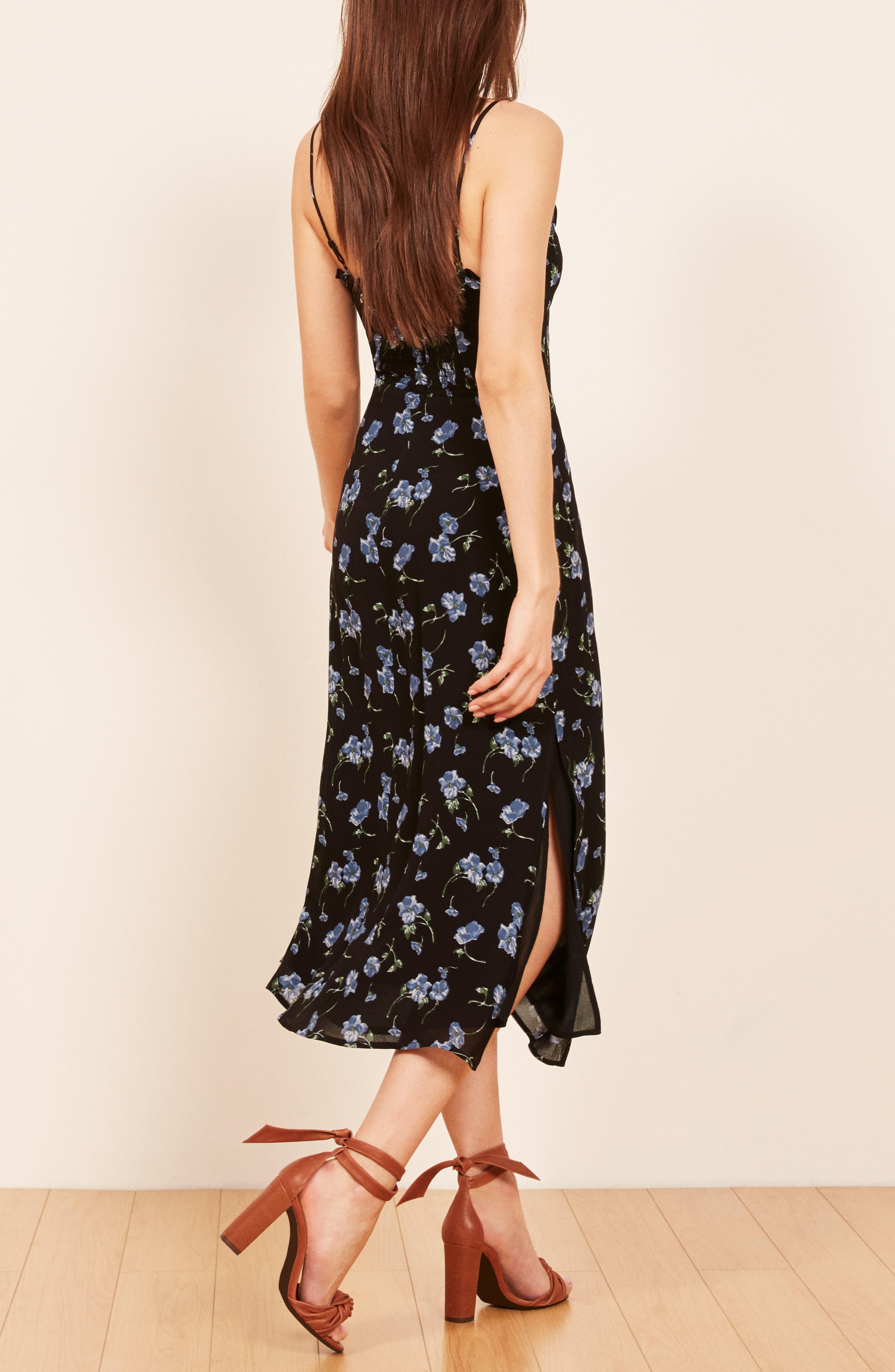 REFORMATION, Cassandra Floral Dress, Alternate thumbnail 4, color, 001