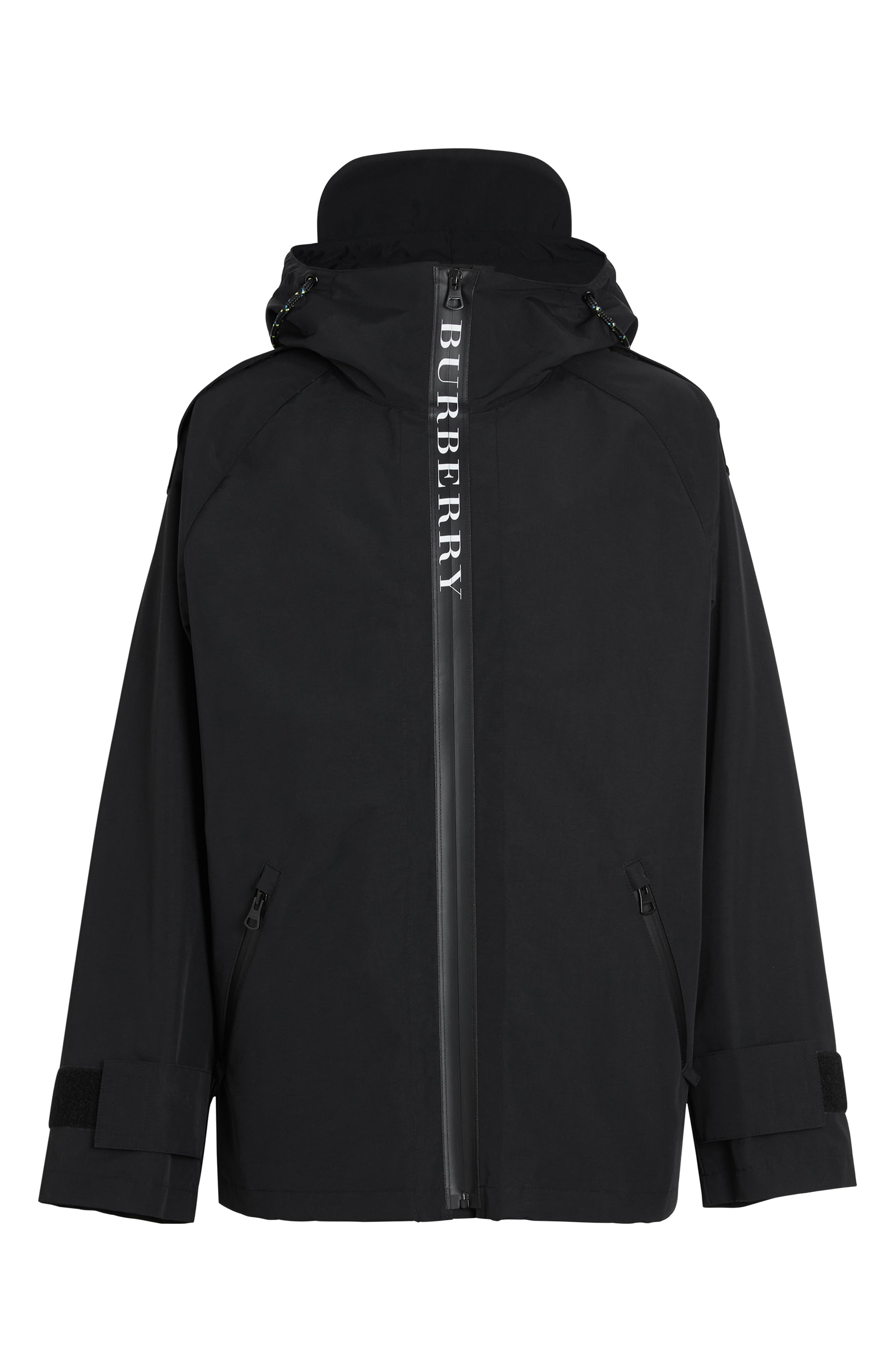 BURBERRY, Roberts Nylon Hooded Jacket, Alternate thumbnail 5, color, BLACK
