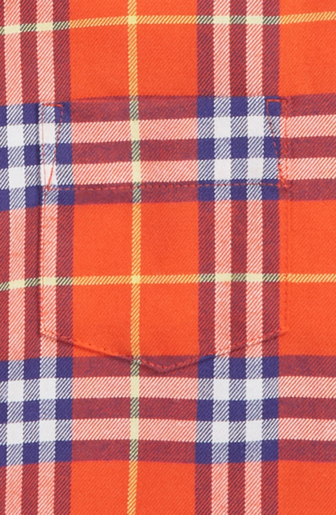BURBERRY, Fred Plaid Woven Shirt, Alternate thumbnail 2, color, ORANGE RED CHK