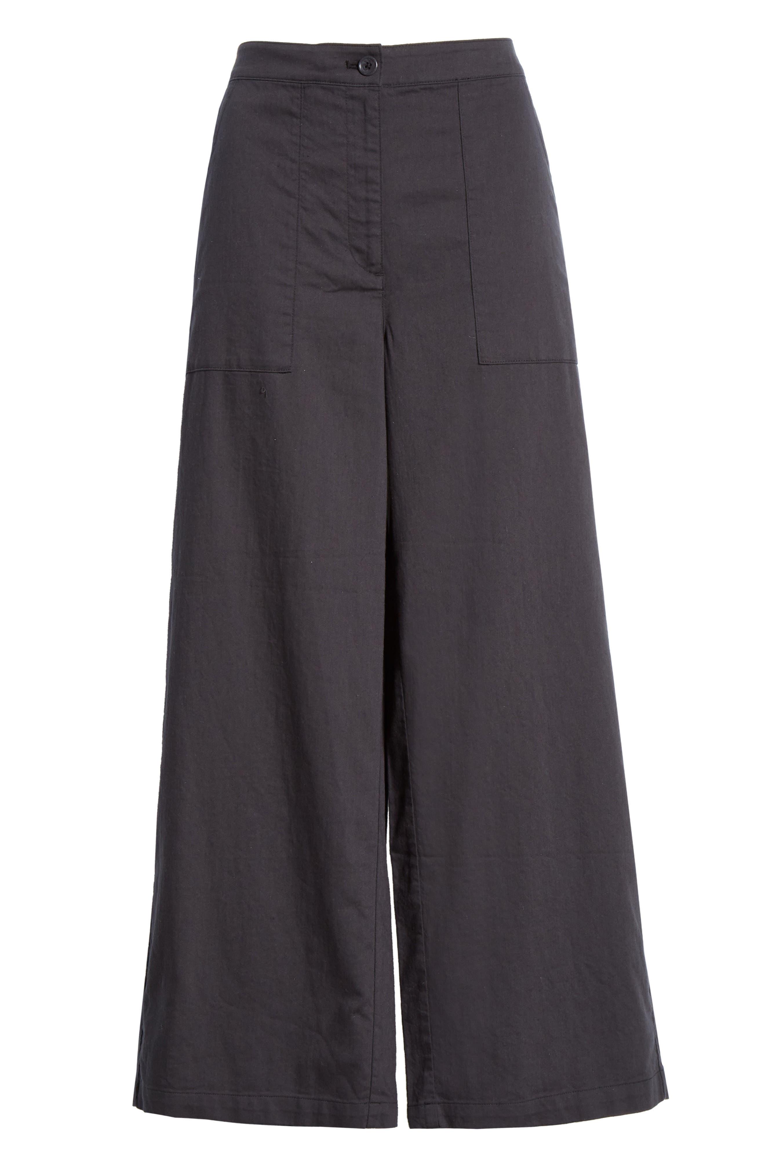 EILEEN FISHER, Organic Cotton Wide Leg Pants, Alternate thumbnail 7, color, GRAPHITE