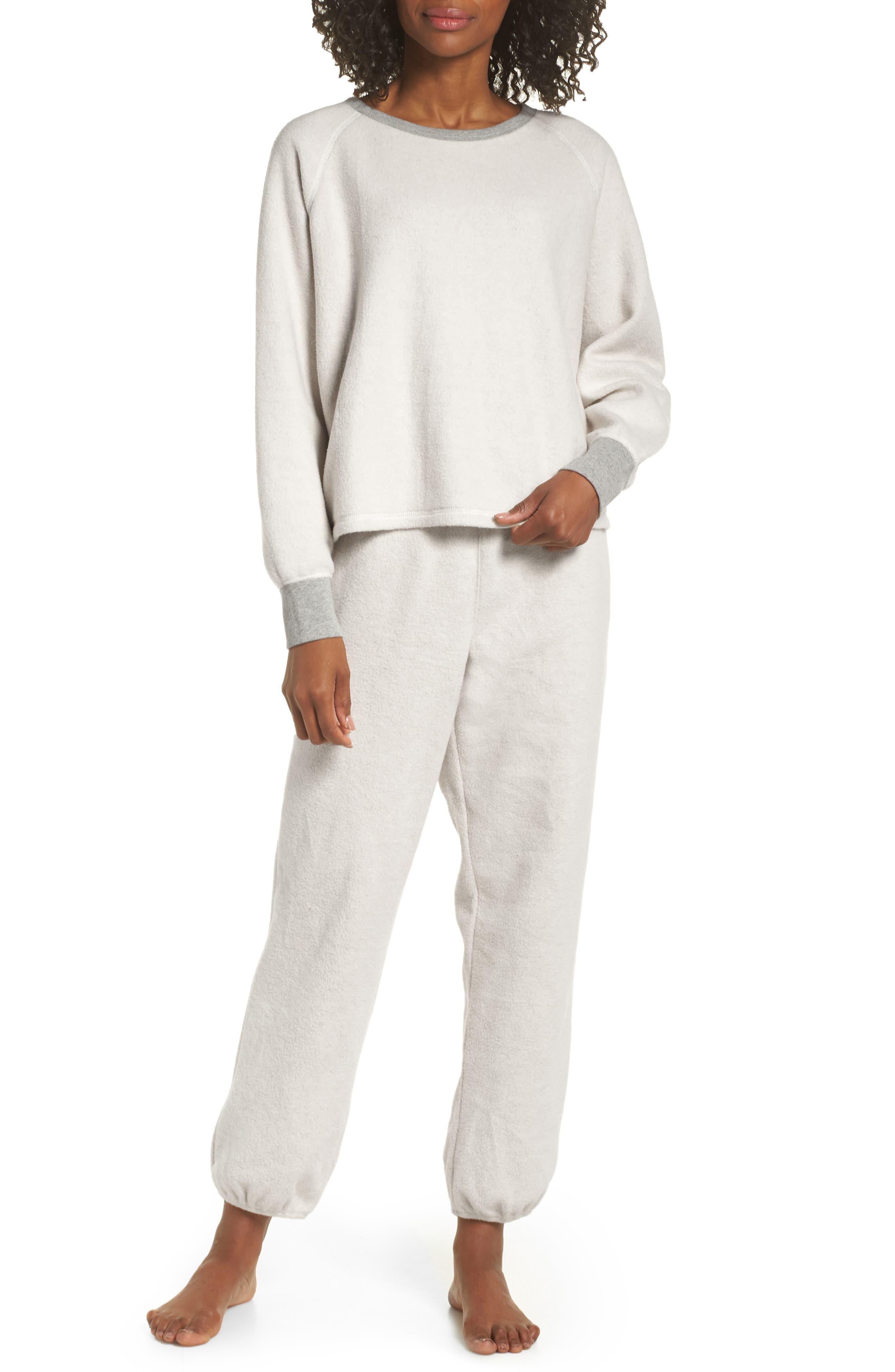 MADEWELL, Fleece Pajama Sweatshirt, Alternate thumbnail 7, color, 020
