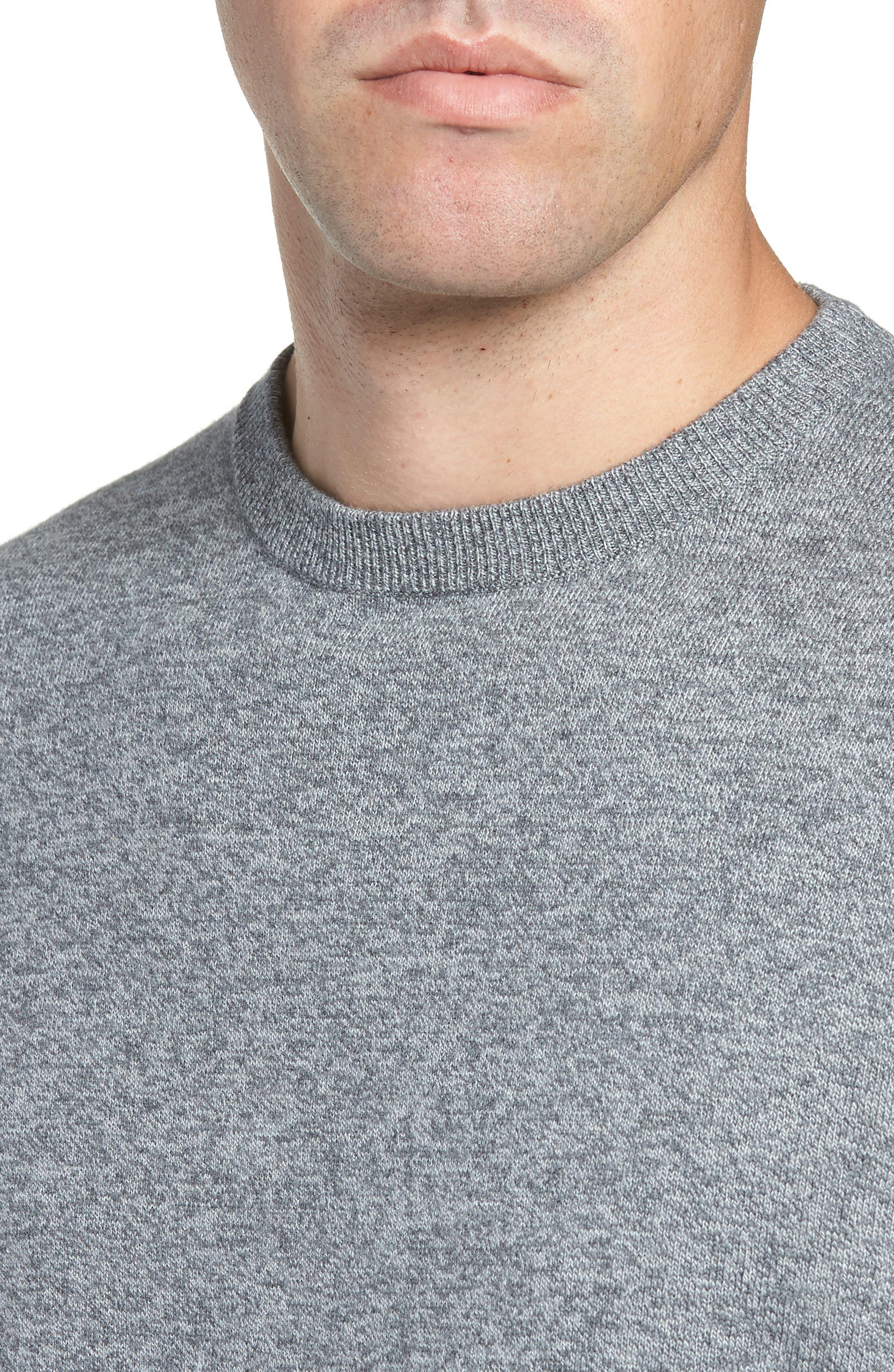 NORDSTROM MEN'S SHOP, Cotton & Cashmere Crewneck Sweater, Alternate thumbnail 4, color, GREY SHADE MARL
