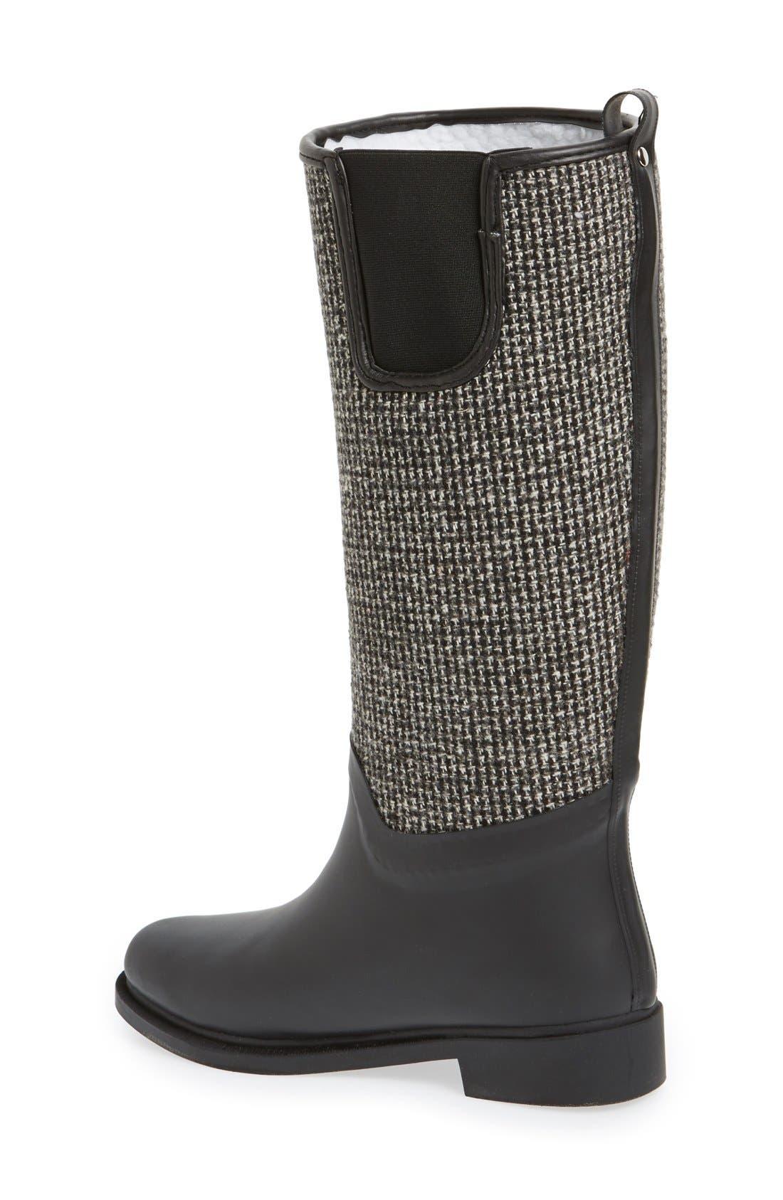 DÄV, Cardiff Tweed Knee High Waterproof Rain Boot, Alternate thumbnail 4, color, BLACK