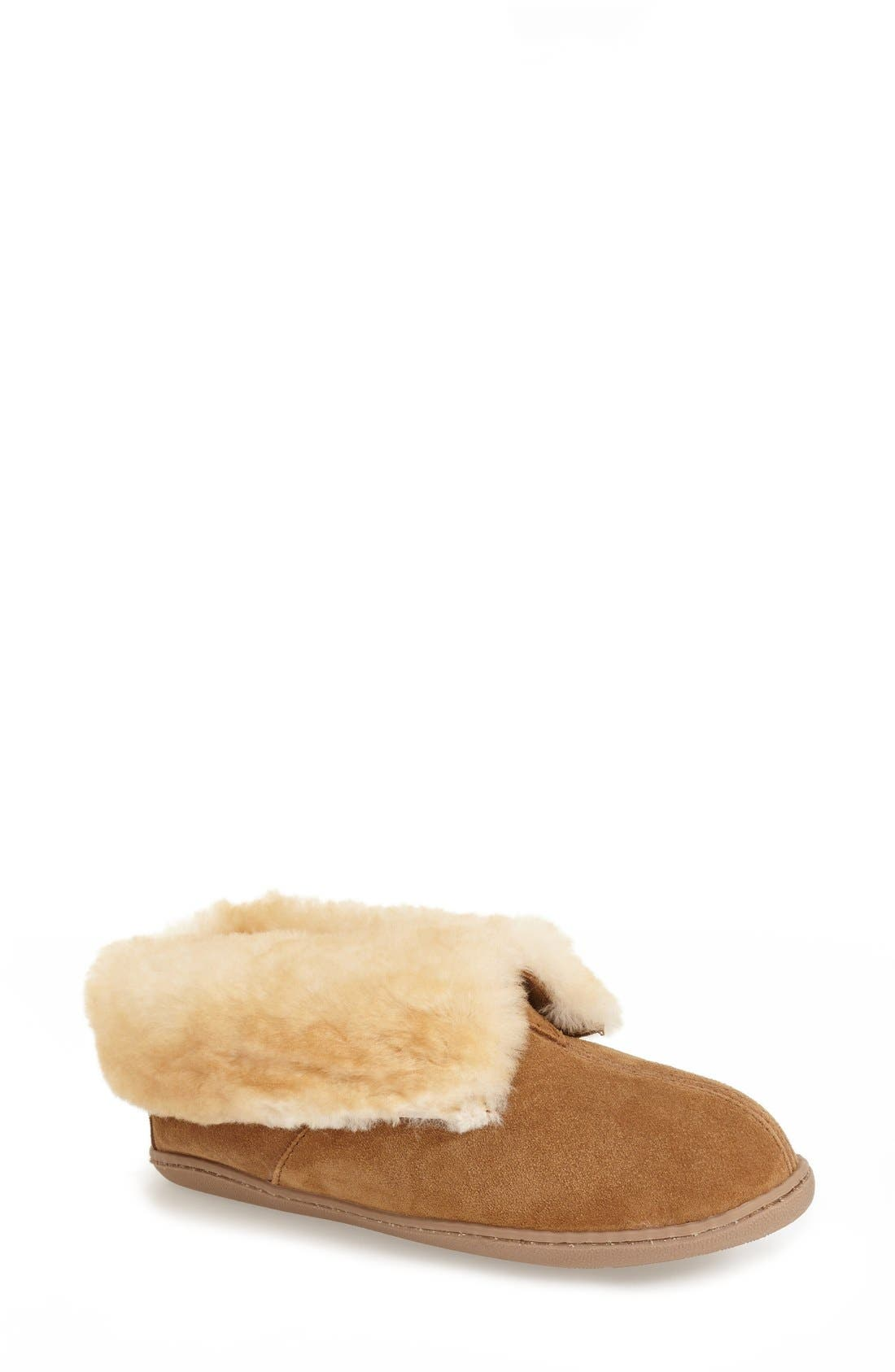 MINNETONKA Sheepskin Slipper Bootie, Main, color, TAN SUEDE