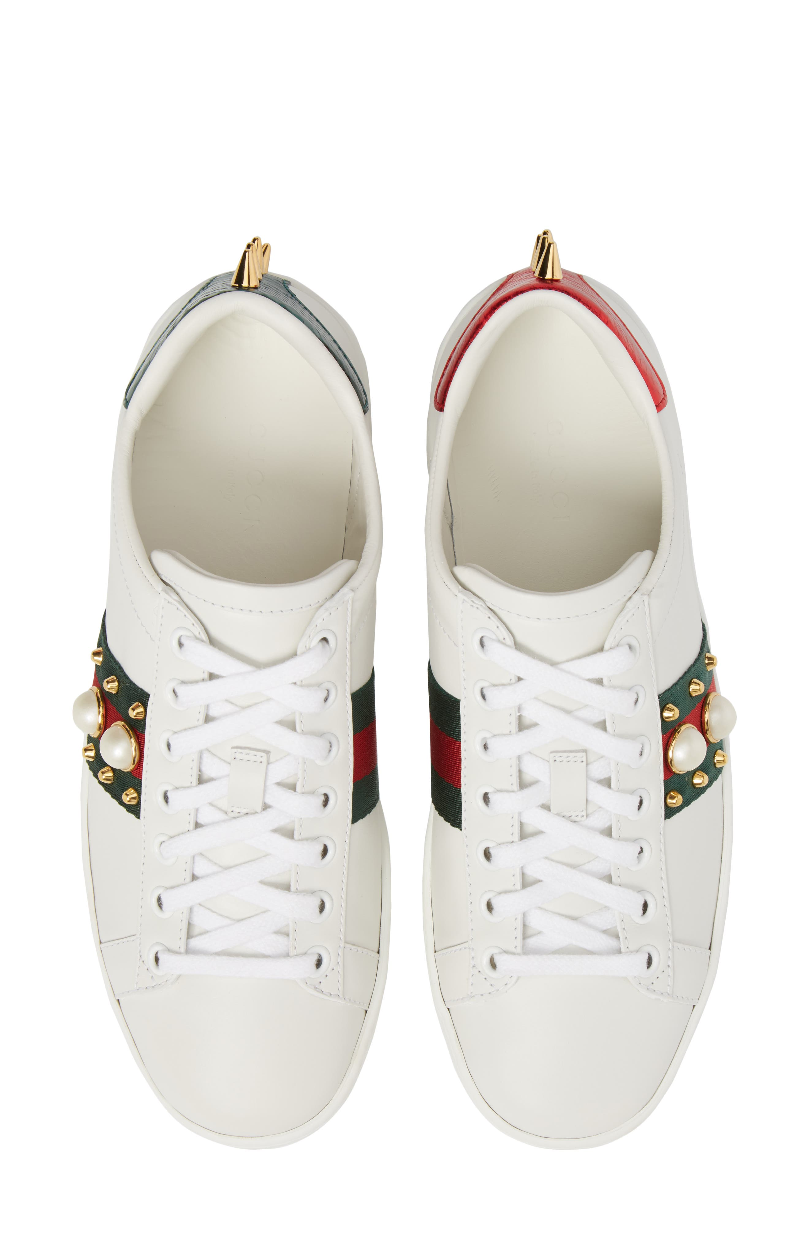 GUCCI, New Ace Low Top Sneaker, Alternate thumbnail 5, color, WHITE/ RED