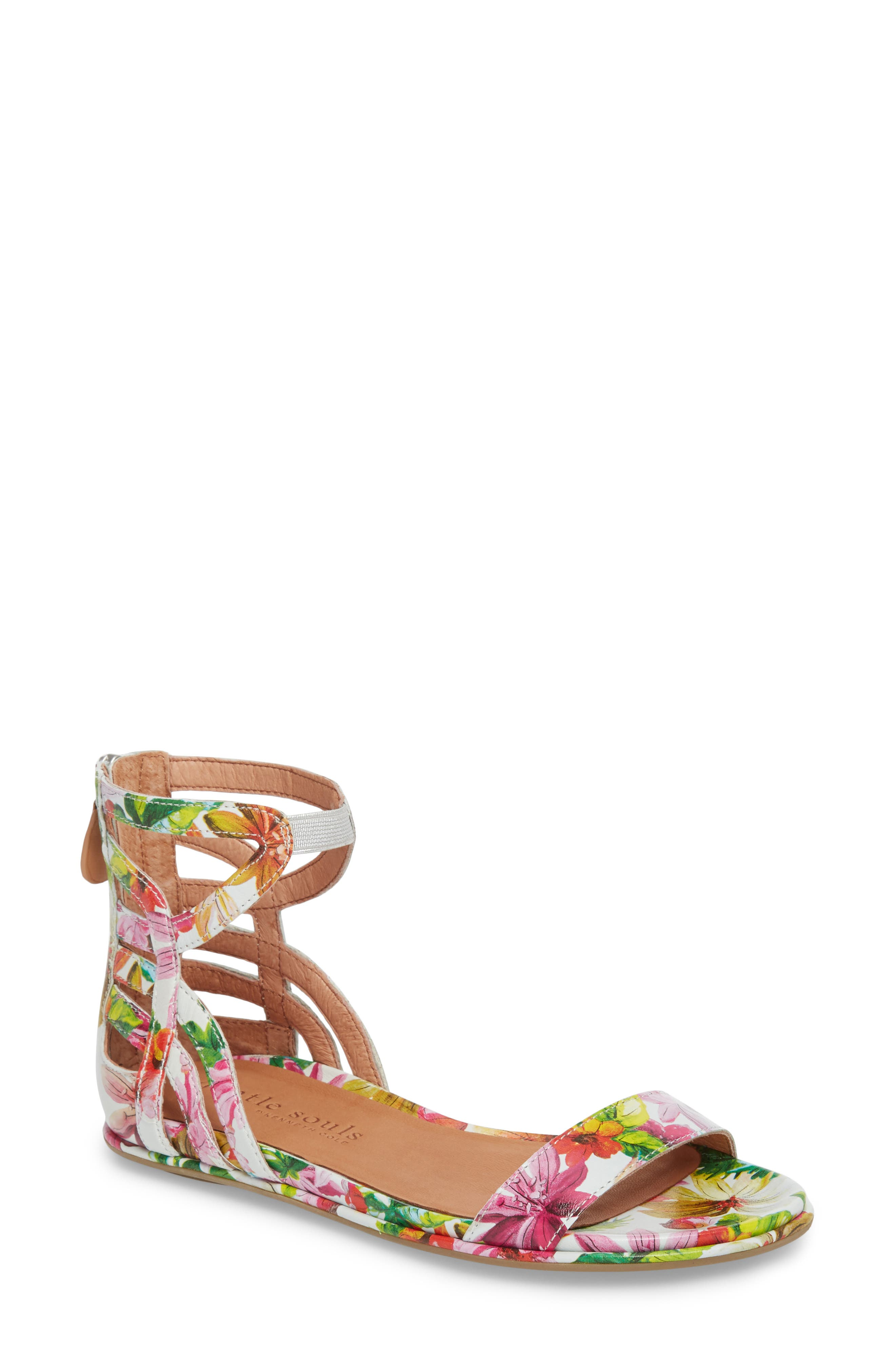 GENTLE SOULS BY KENNETH COLE, Larissa Sandal, Main thumbnail 1, color, PALM PRINTED LEATHER