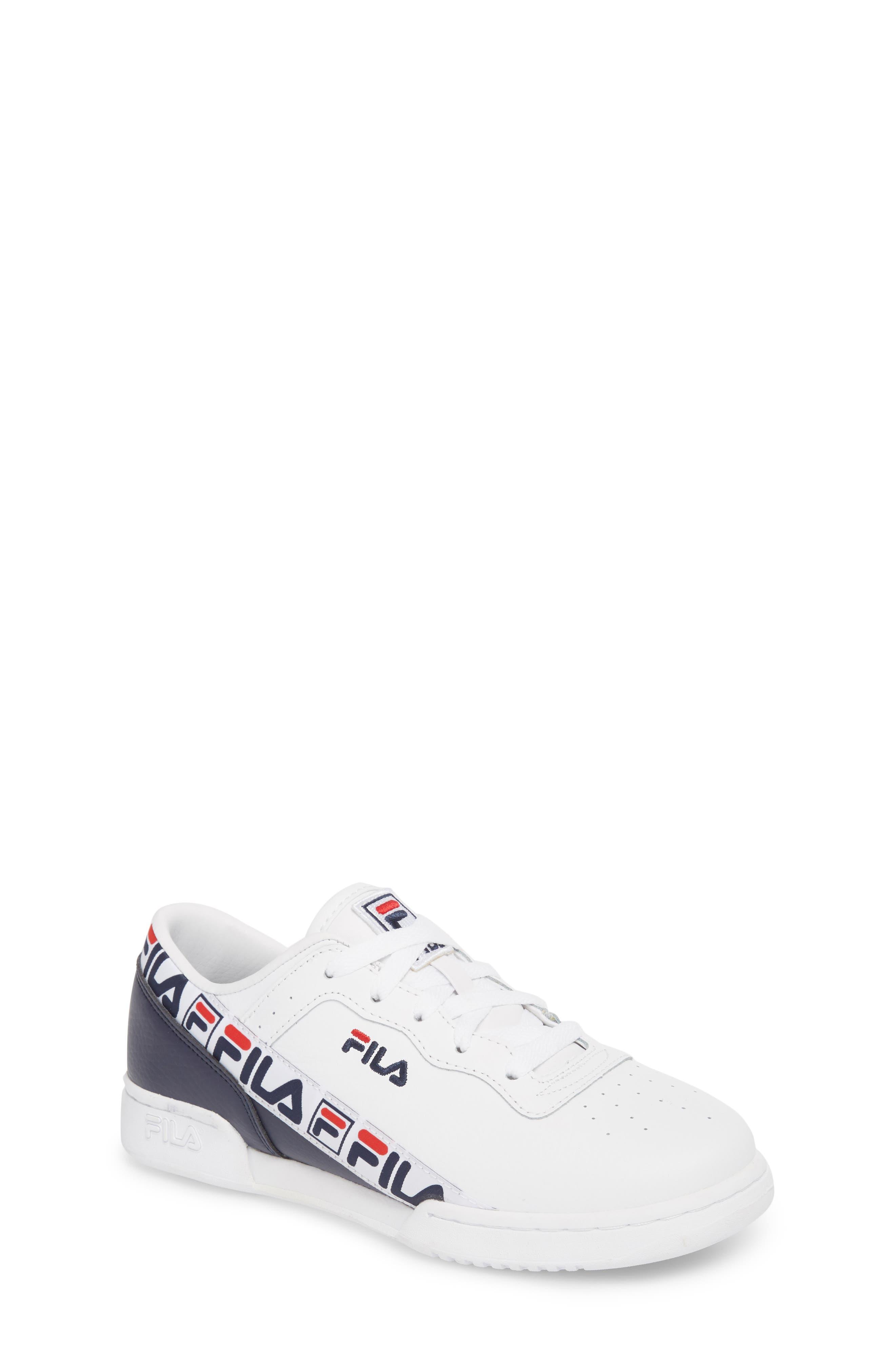 FILA Original Fitness Logo Tape Sneaker, Main, color, WHITE/ FILA NAVY