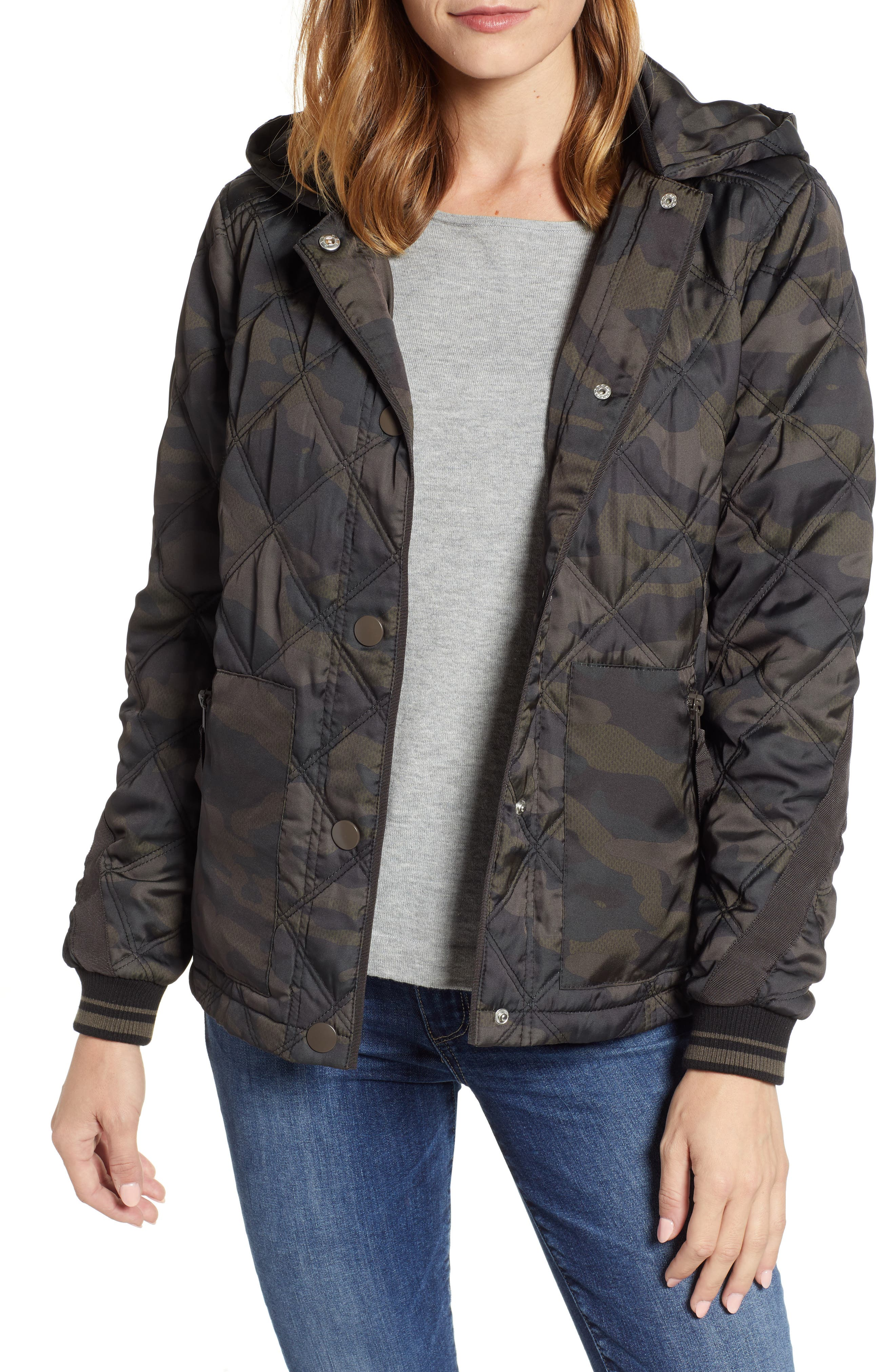 WIT & WISDOM, Lightweight Quilted Jacket, Main thumbnail 1, color, OLIVE