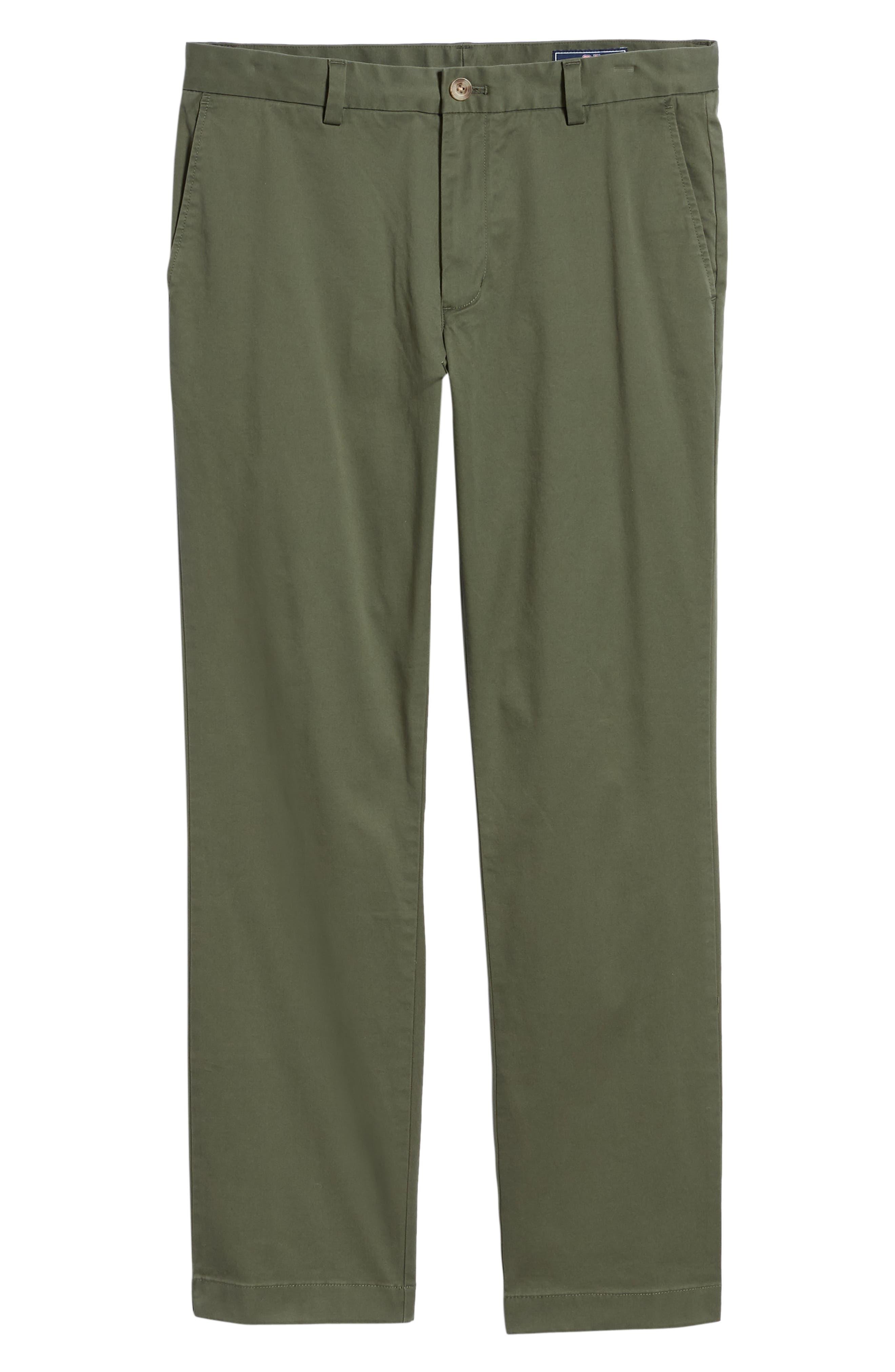 VINEYARD VINES, Breaker Flat Front Stretch Cotton Pants, Alternate thumbnail 7, color, CARGO GREEN