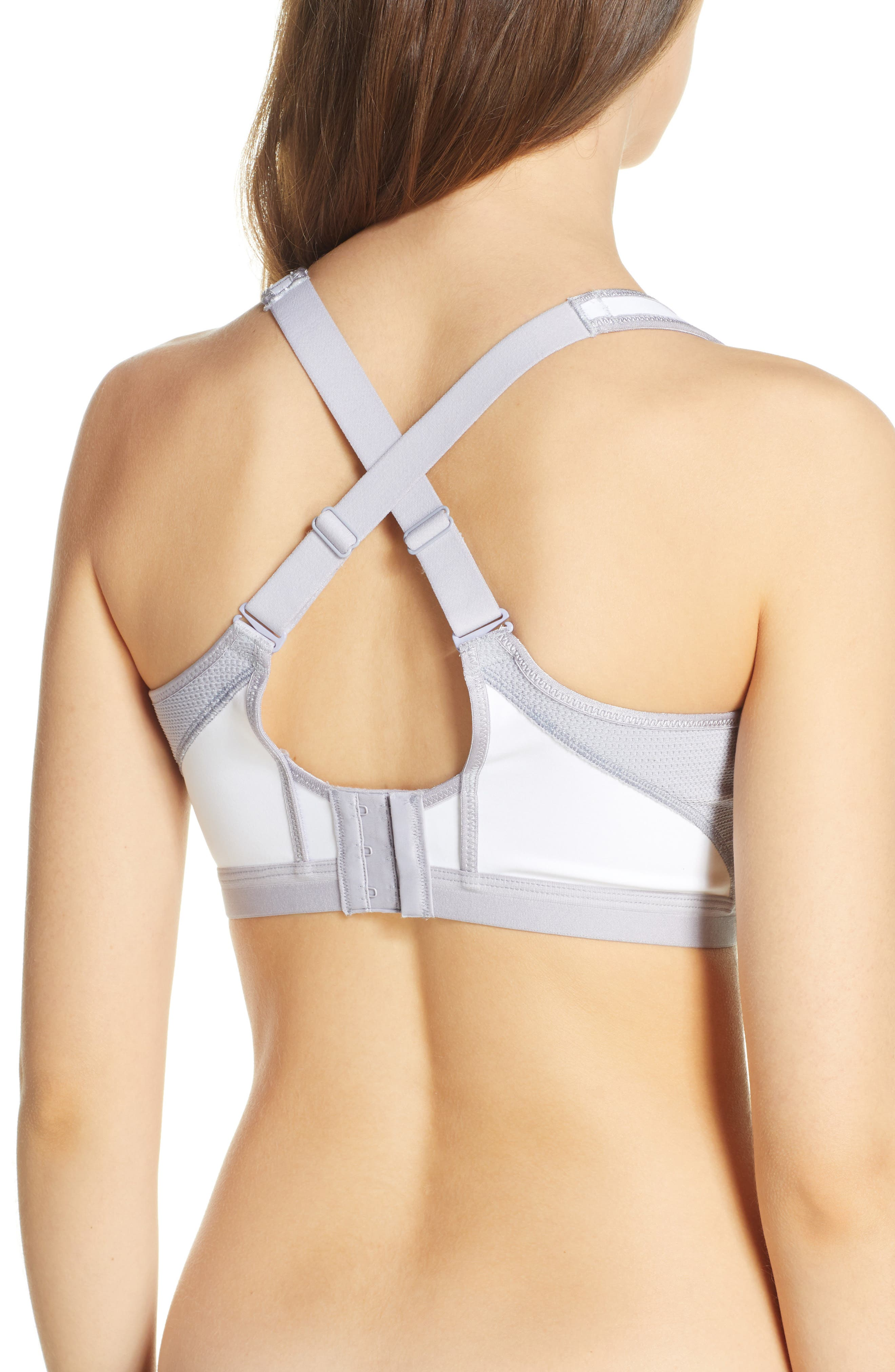WACOAL, High Impact Underwire Sports Bra, Alternate thumbnail 4, color, WHITE/ LILAC GRAY