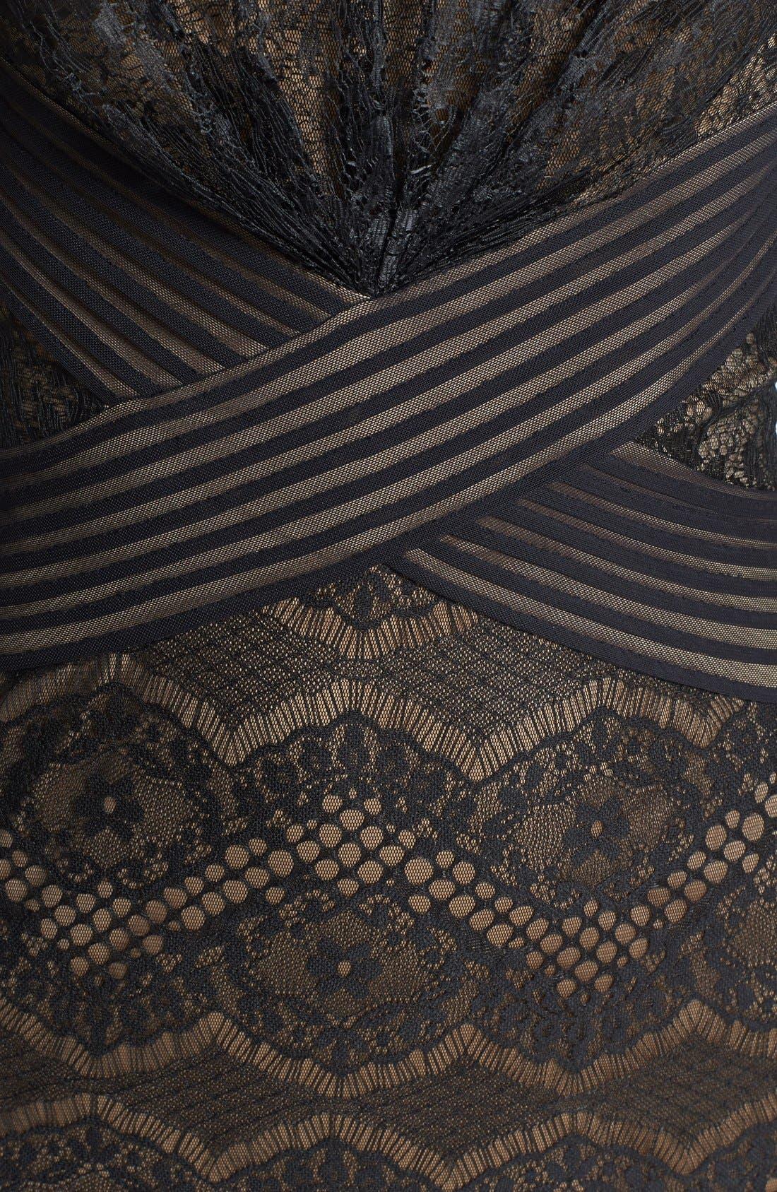 TADASHI SHOJI, Lace Sheath Dress, Alternate thumbnail 6, color, 004