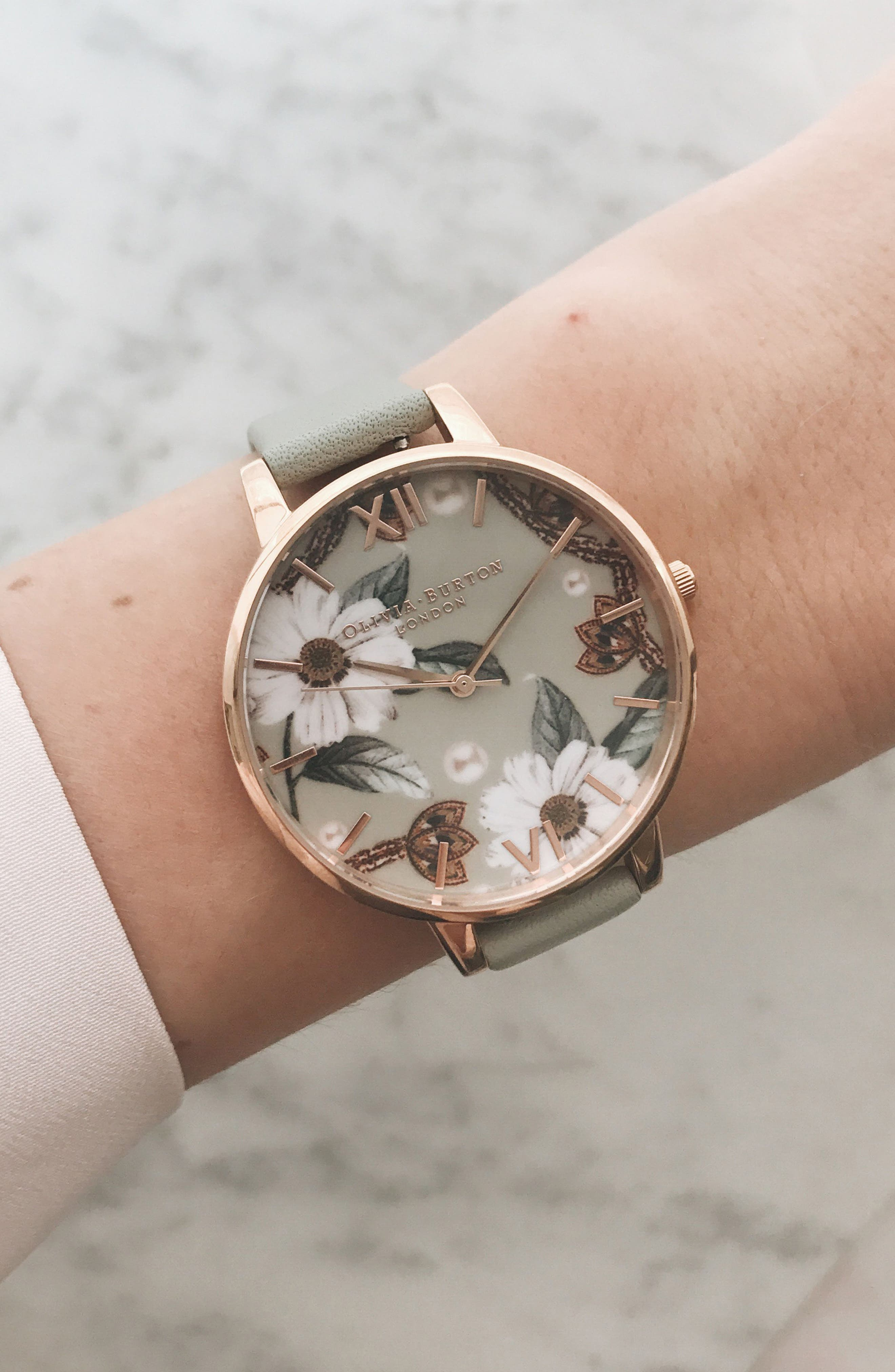 OLIVIA BURTON, Bejewelled Leather Strap Watch, 38mm, Alternate thumbnail 5, color, GREY/ FLORAL/ ROSE GOLD