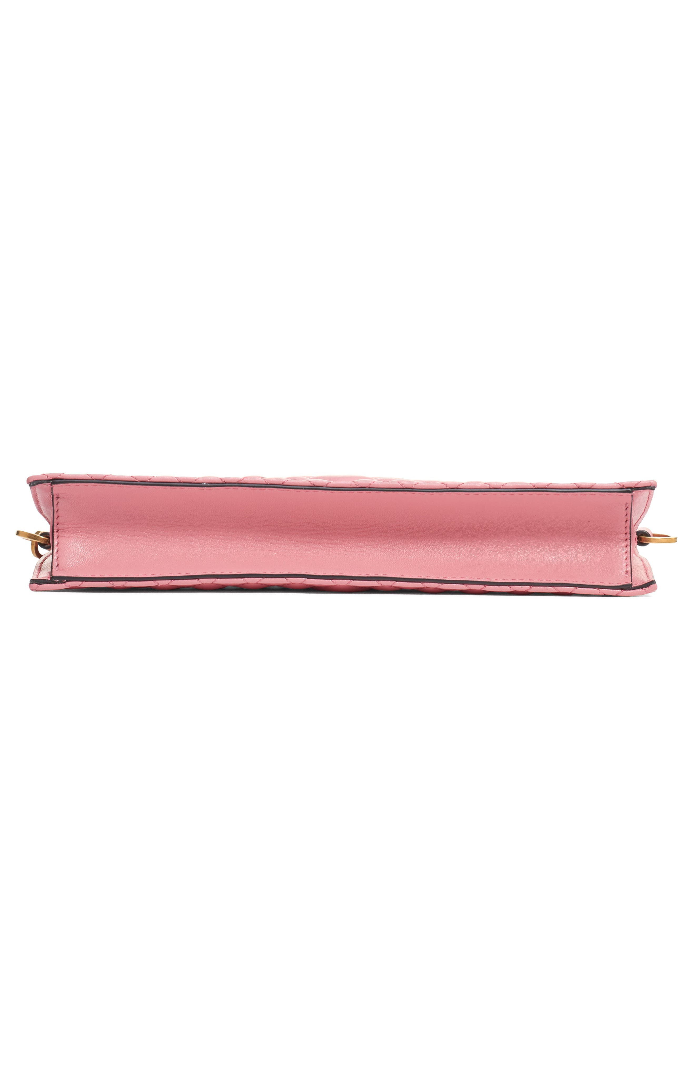 VERSACE, Tribute Icon Quilted Leather Pouch, Alternate thumbnail 6, color, SHELL PINK/ TRIBUTE GOLD