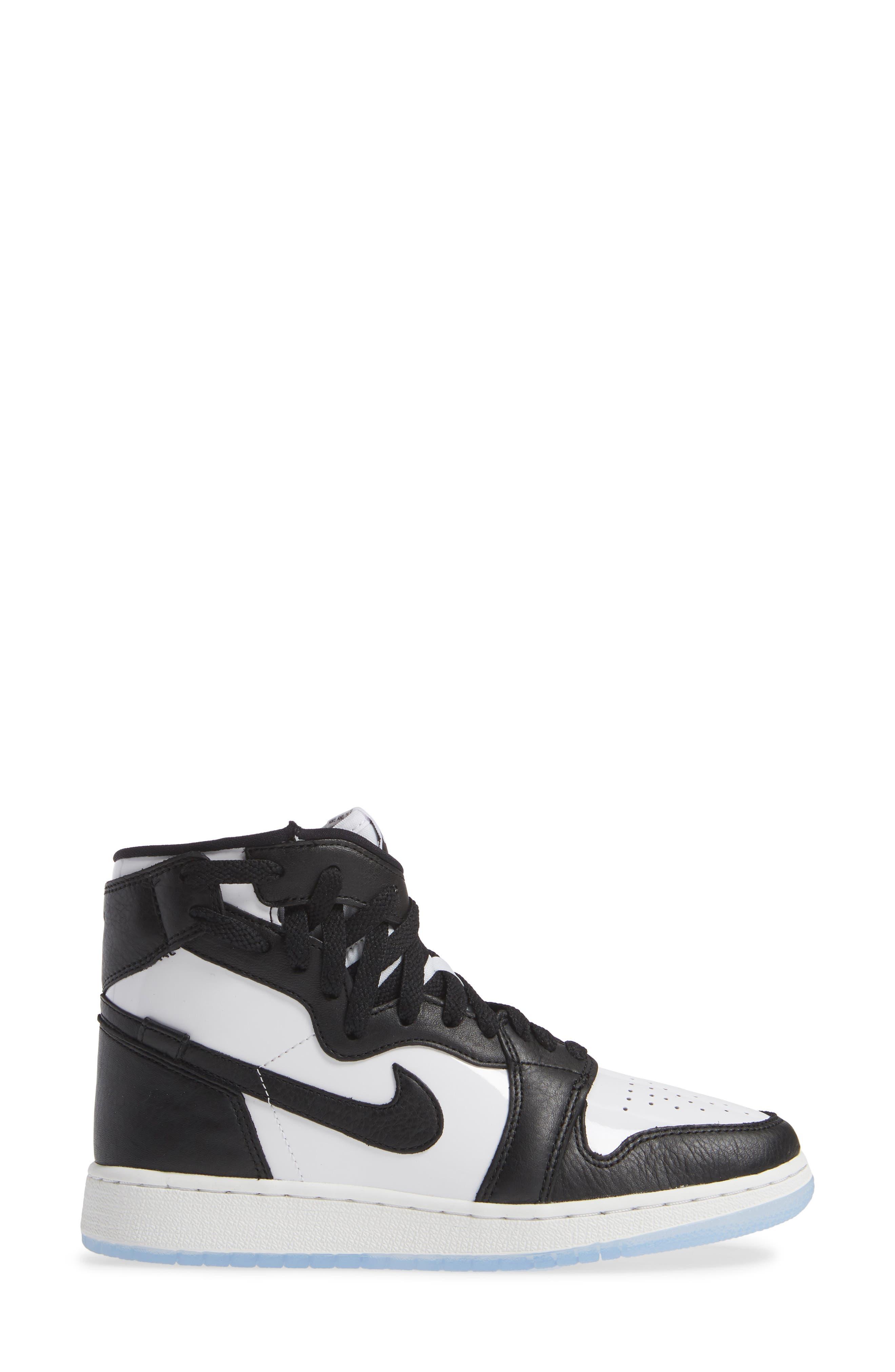 NIKE, Air Jordan 1 Rebel XX High Top Sneaker, Alternate thumbnail 3, color, BLACK/ BLACK
