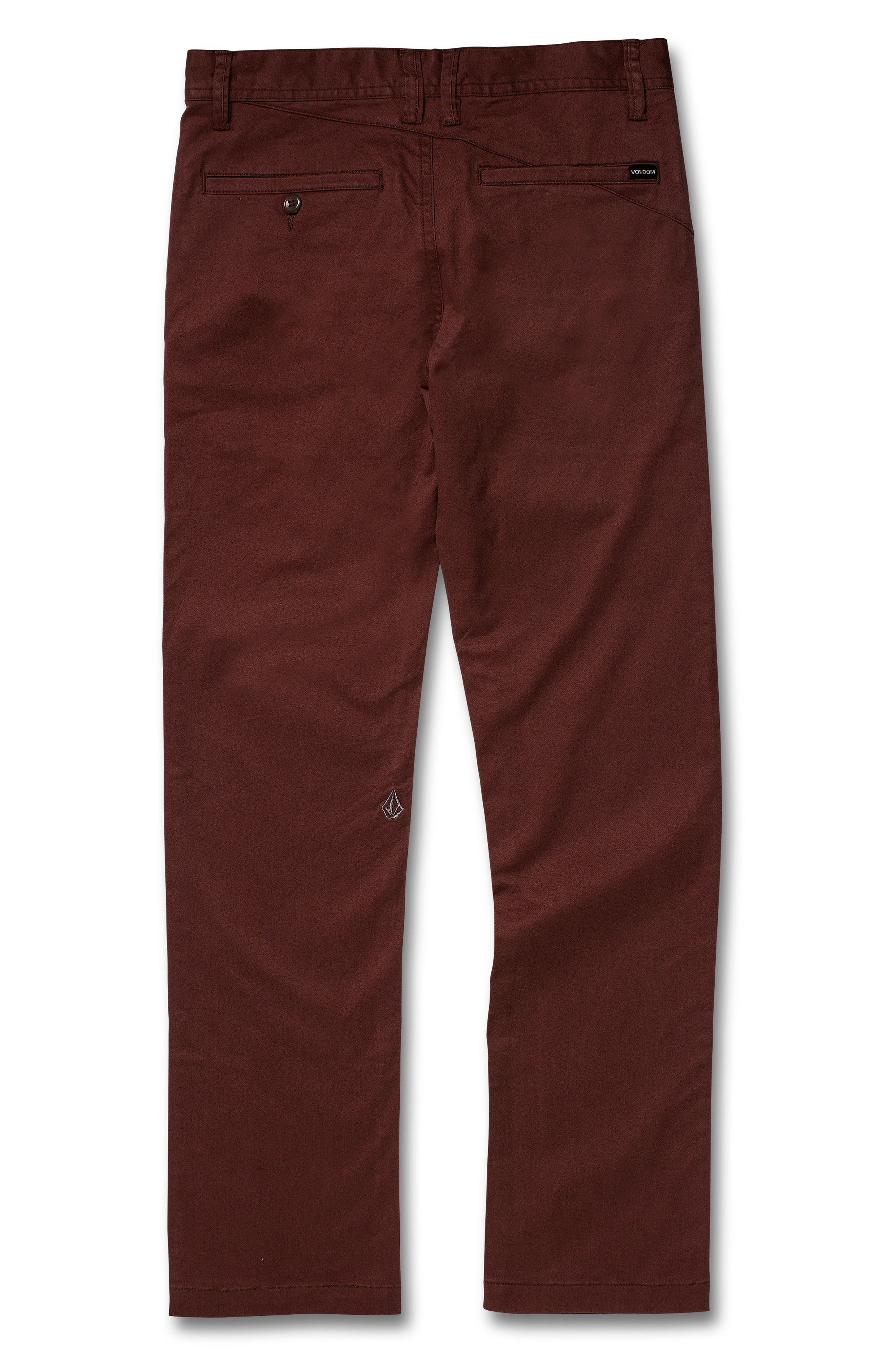VOLCOM, Slim Fit Stretch Chinos, Alternate thumbnail 2, color, BROWN