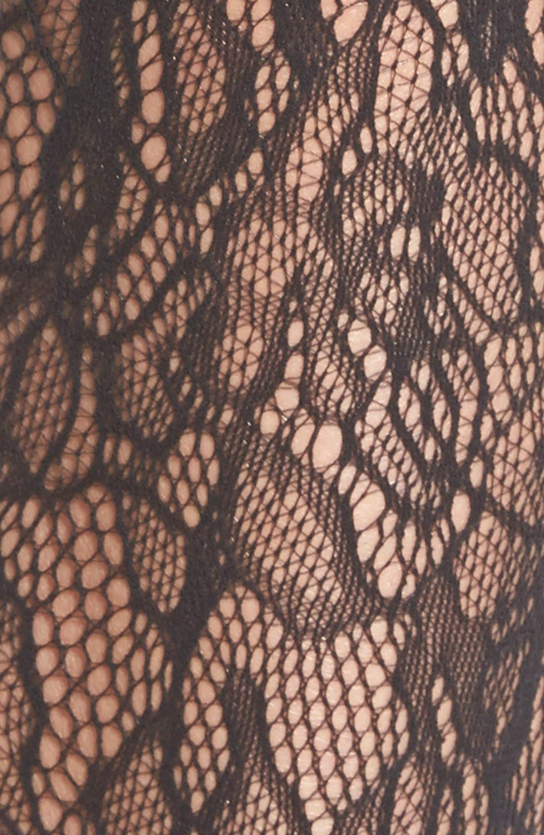 WOLFORD, 'Clair' Lace Tights, Alternate thumbnail 2, color, 002