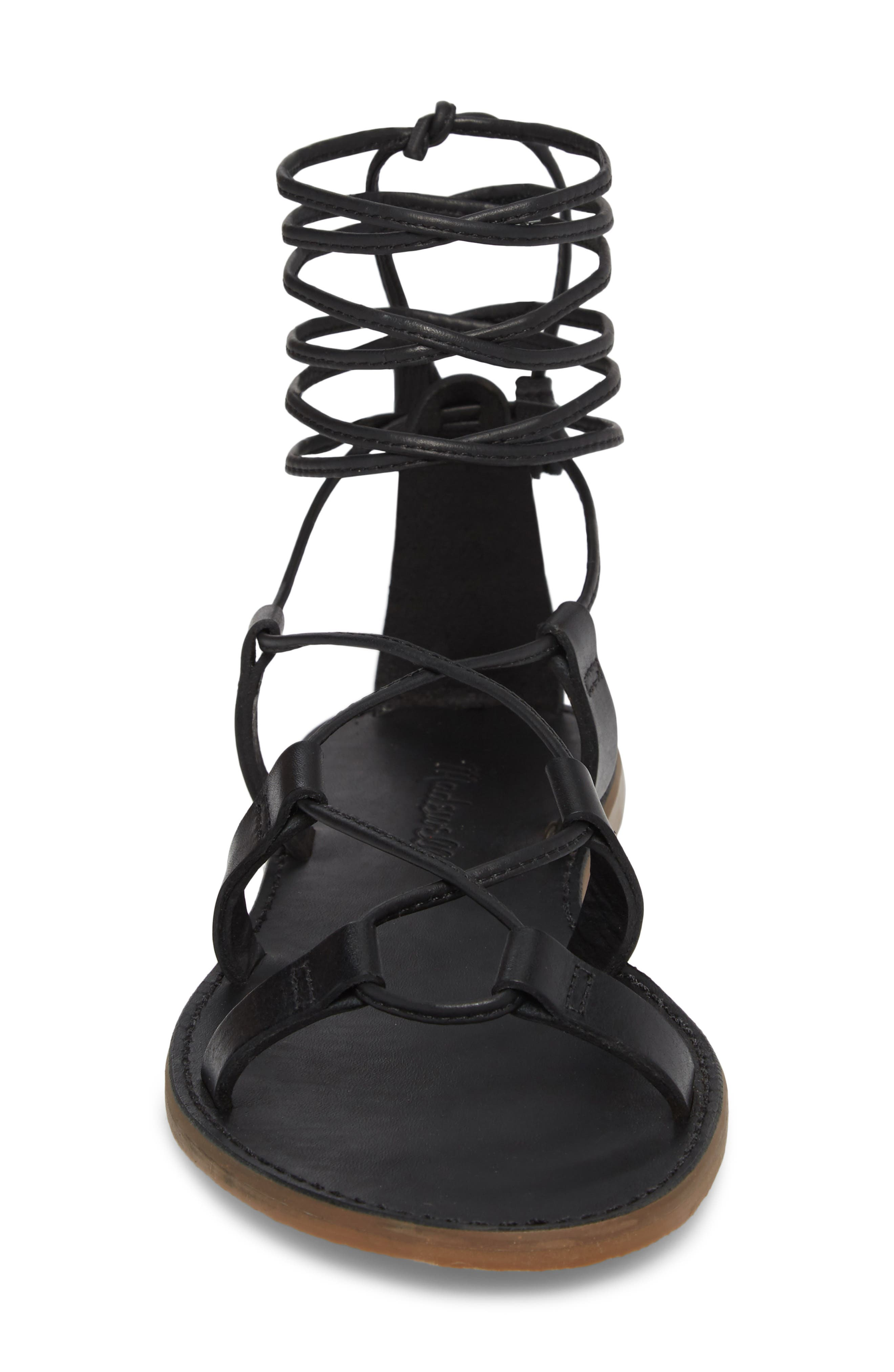 MADEWELL, The Boardwalk Lace-Up Sandal, Alternate thumbnail 4, color, 001