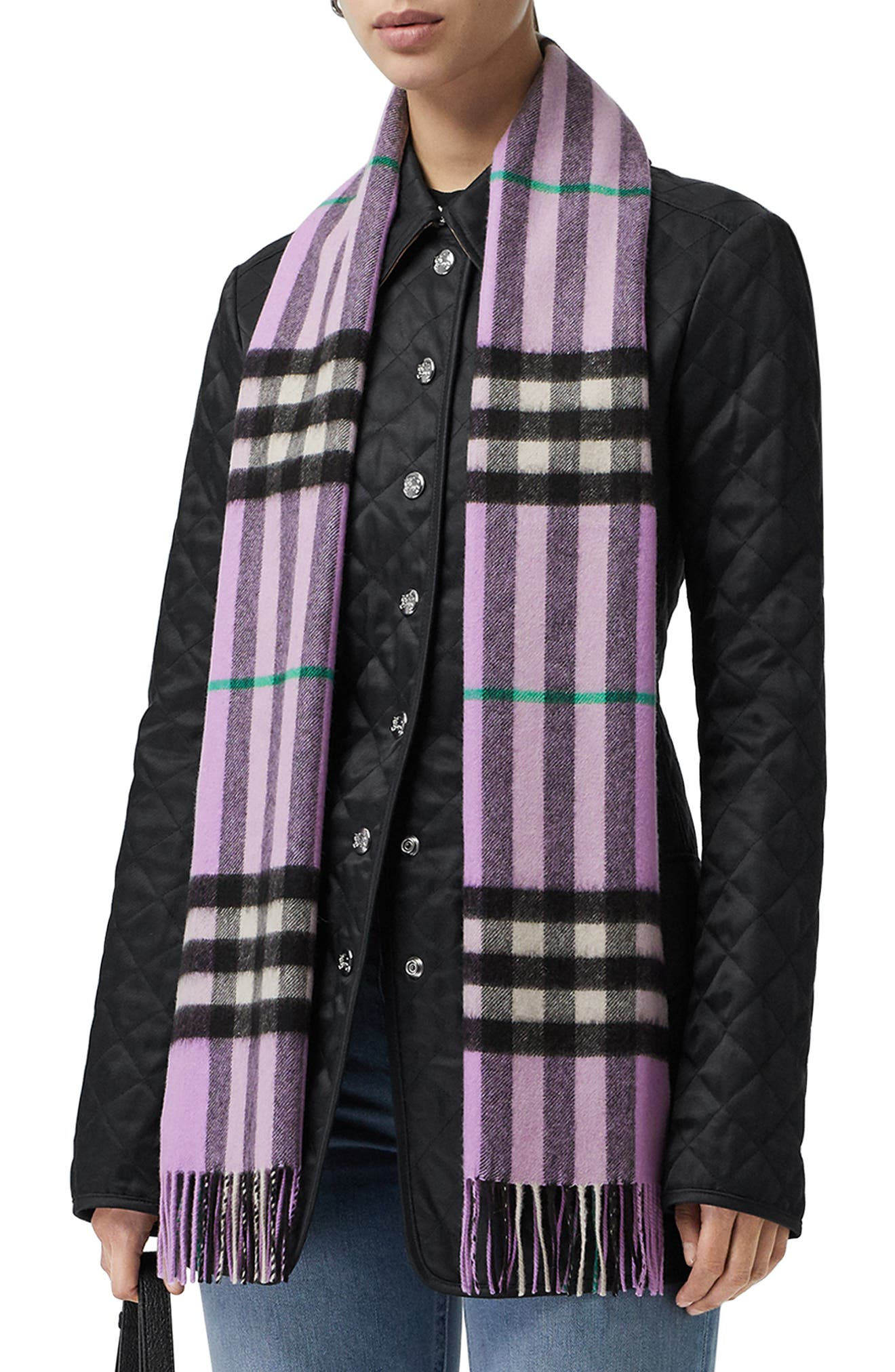 BURBERRY, Giant Check Cashmere Scarf, Alternate thumbnail 2, color, PALE HEATHER
