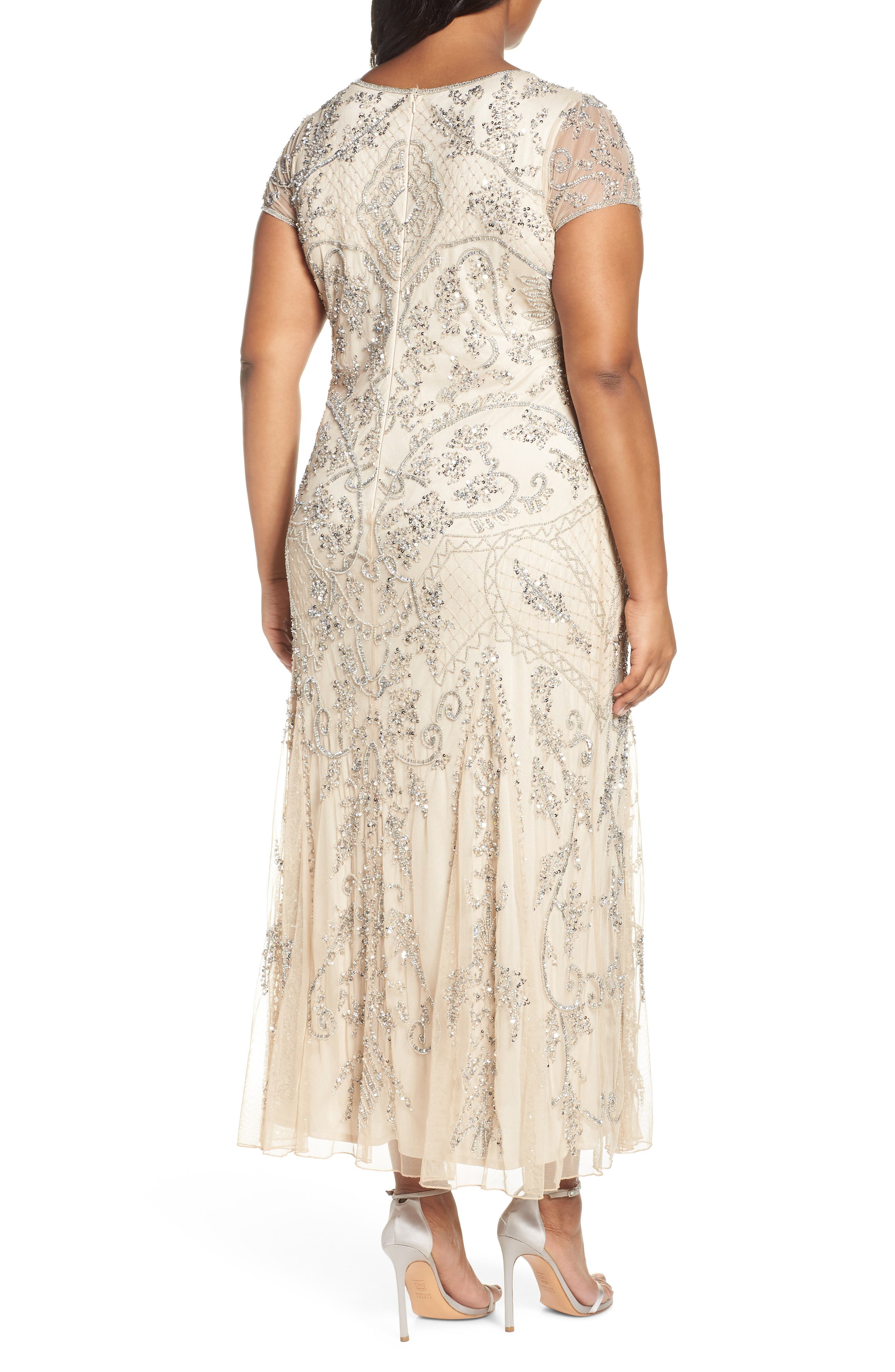 PISARRO NIGHTS, Beaded Short Sleeve Column Gown, Alternate thumbnail 2, color, CHAMPAGNE/ SILVER