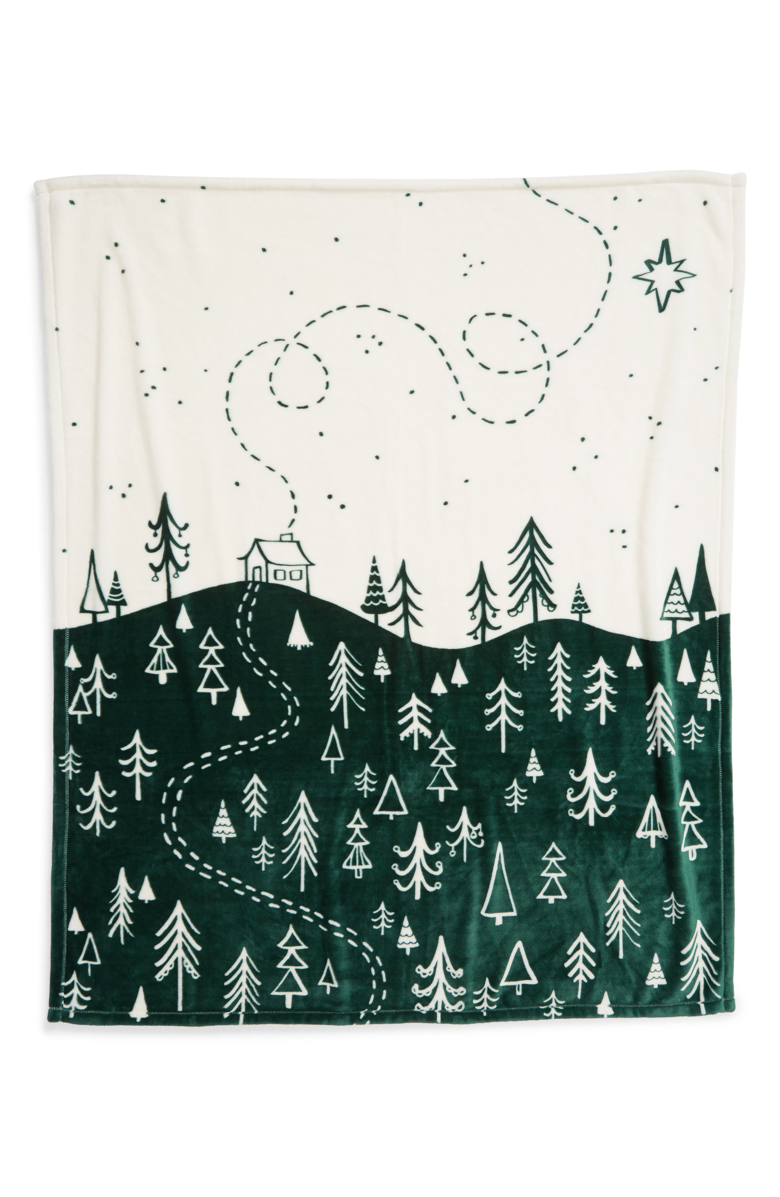 NORDSTROM AT HOME, Midnight Forest Plush Throw, Alternate thumbnail 3, color, GREEN DARK FOREST