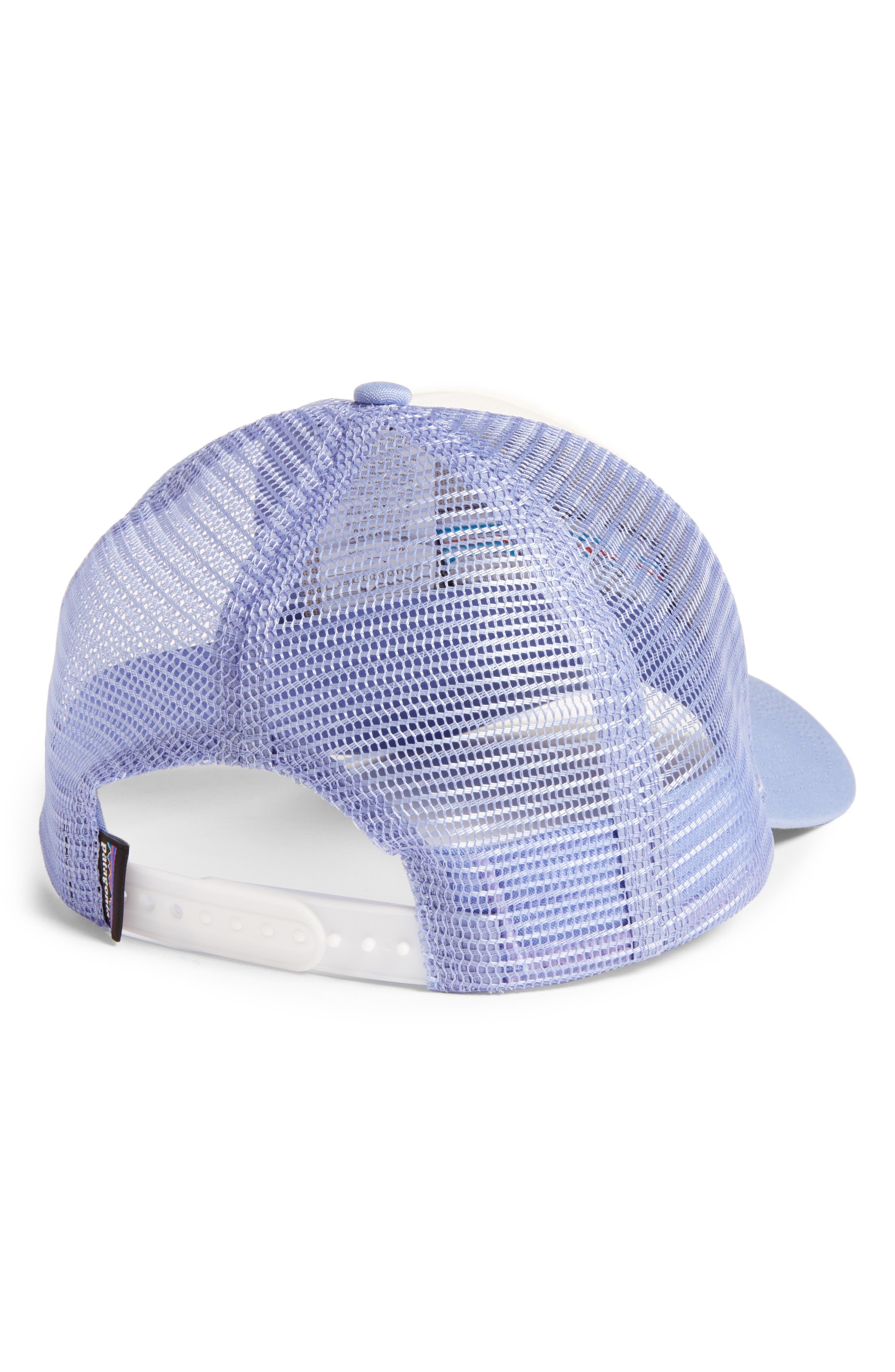 PATAGONIA, P6 LoPro Trucker Hat, Alternate thumbnail 2, color, WHITE W/ LIGHT VIOLET BLUE