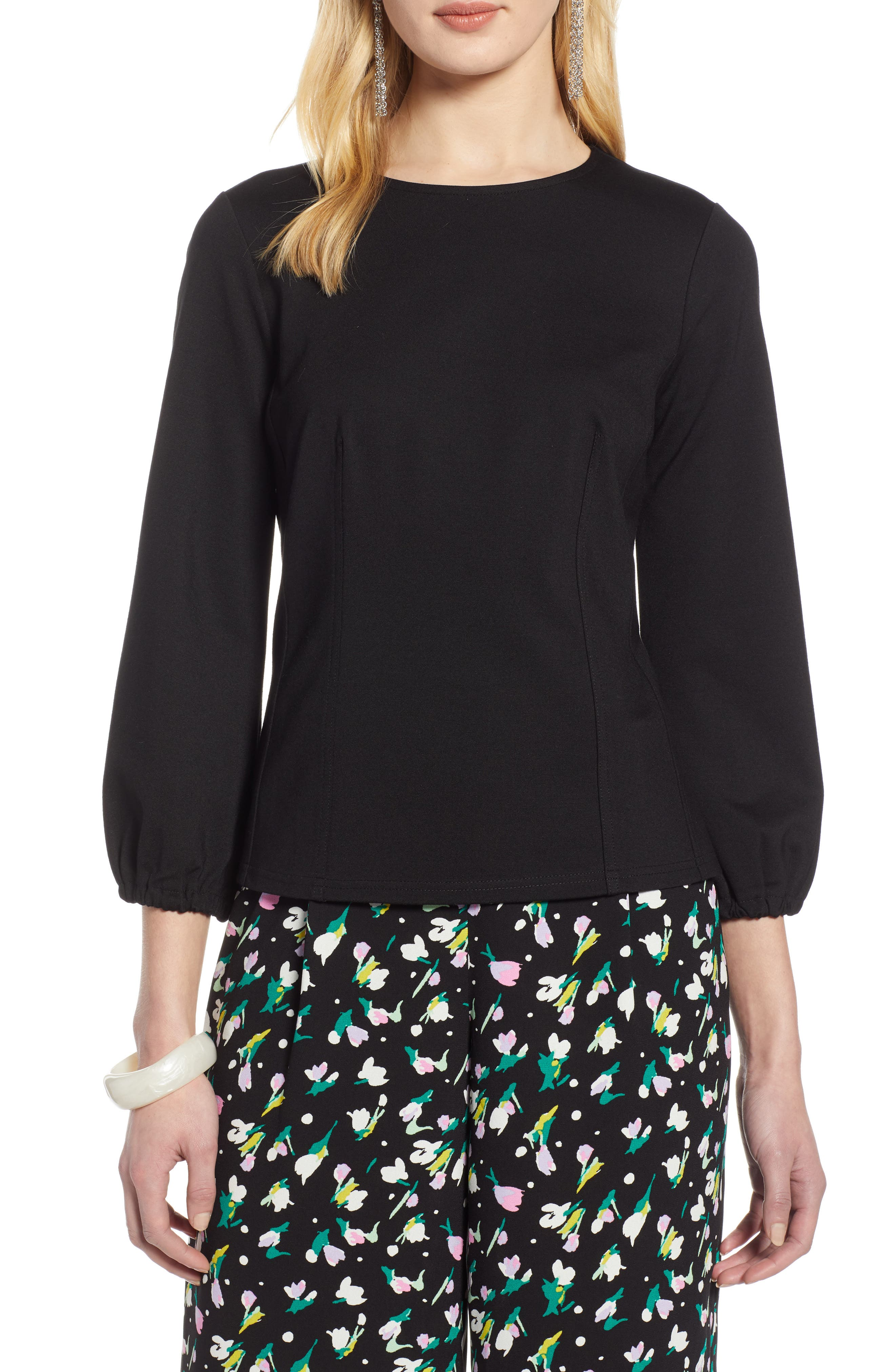 HALOGEN<SUP>®</SUP>, Structured Stretch Knit Top, Main thumbnail 1, color, BLACK