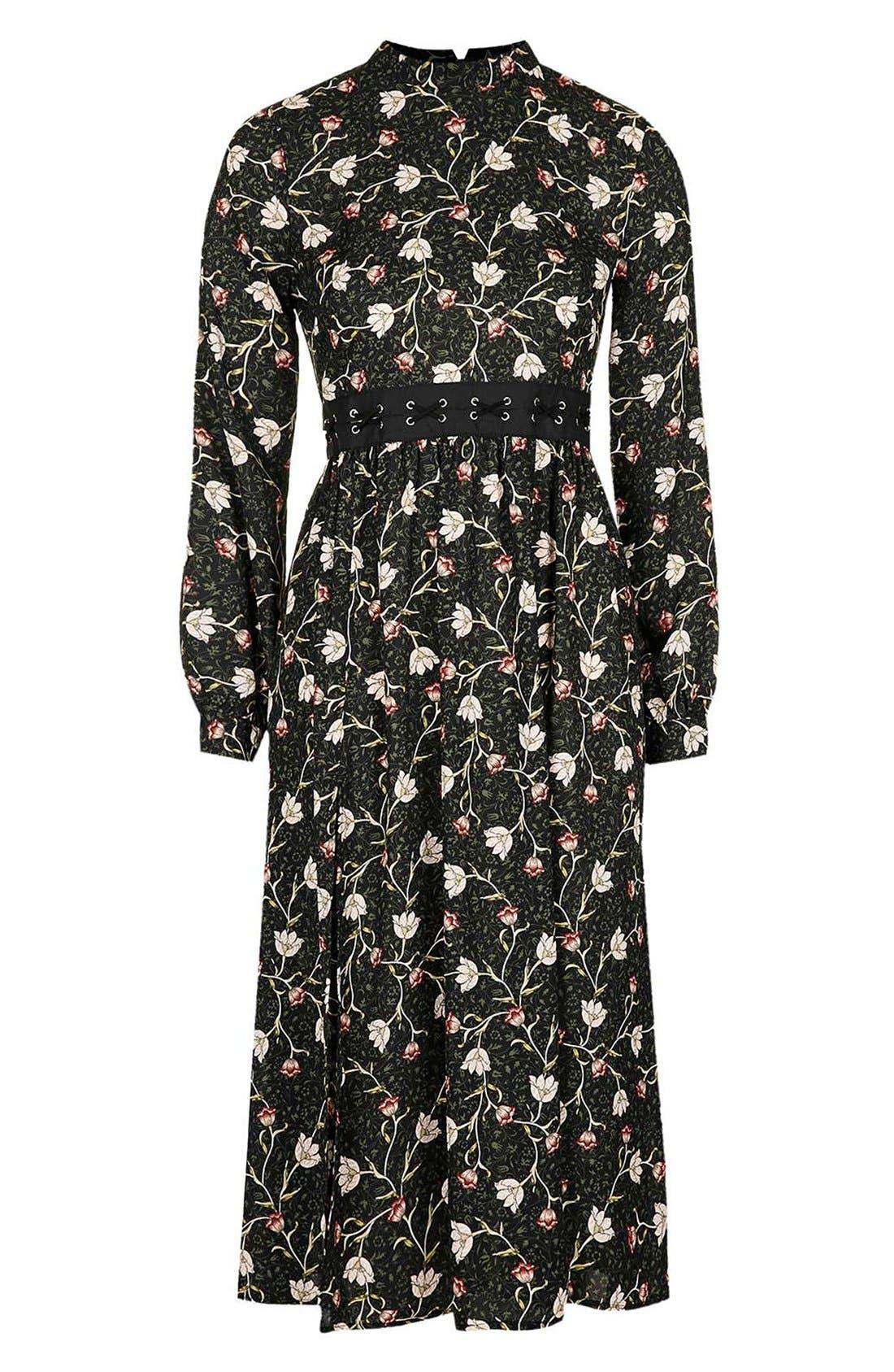 TOPSHOP, Tulip Print Midi Dress, Alternate thumbnail 2, color, 301