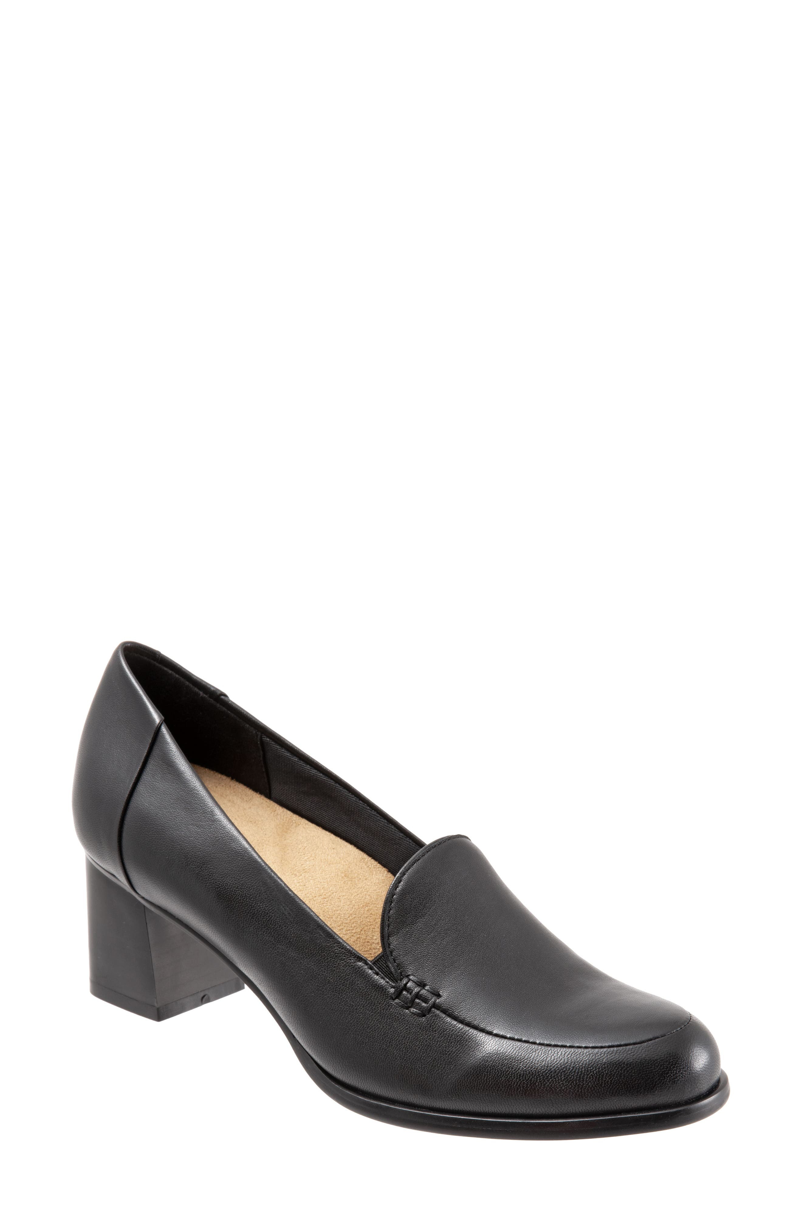 TROTTERS, Quincy Loafer Pump, Main thumbnail 1, color, BLACK LEATHER