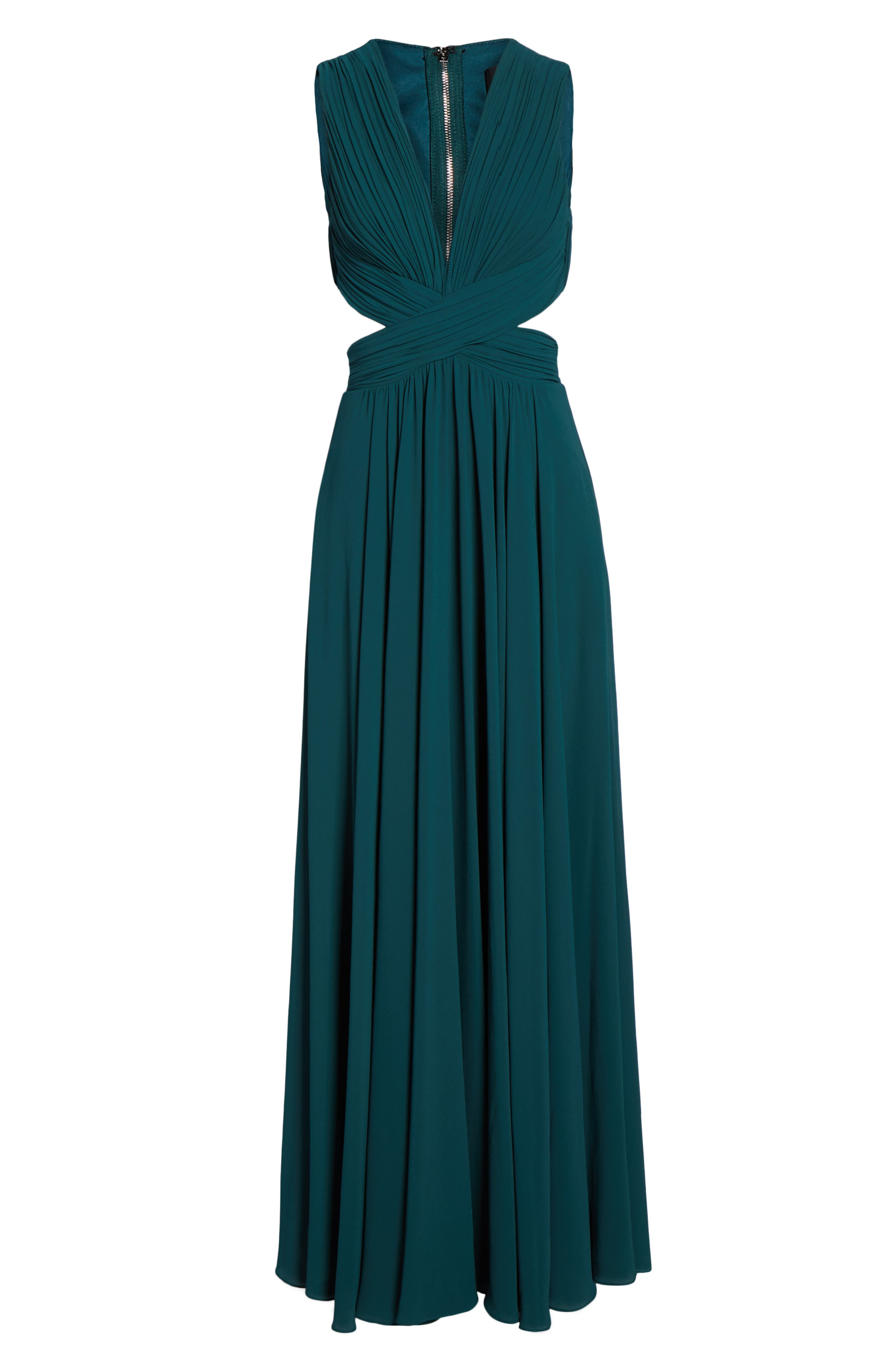 LULUS, Vivid Imagination Chiffon Gown, Alternate thumbnail 7, color, FOREST GREEN