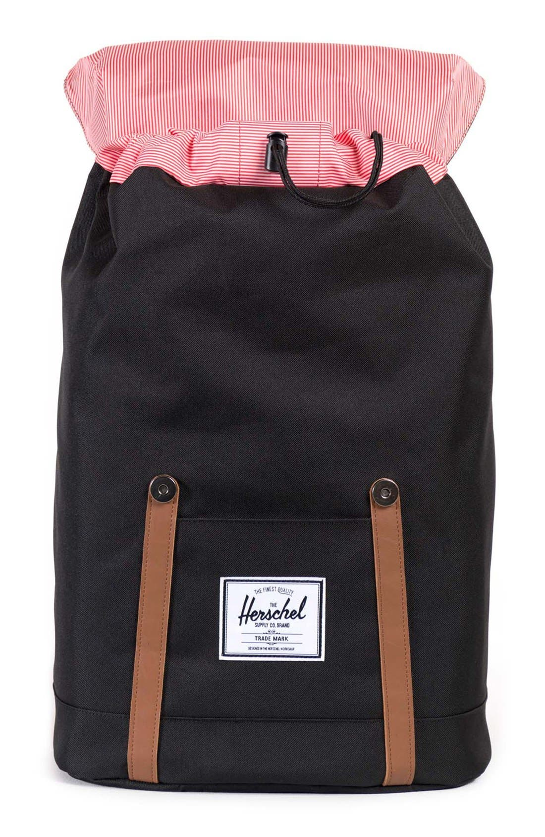 HERSCHEL SUPPLY CO., 'Retreat' Backpack, Alternate thumbnail 8, color, BLACK