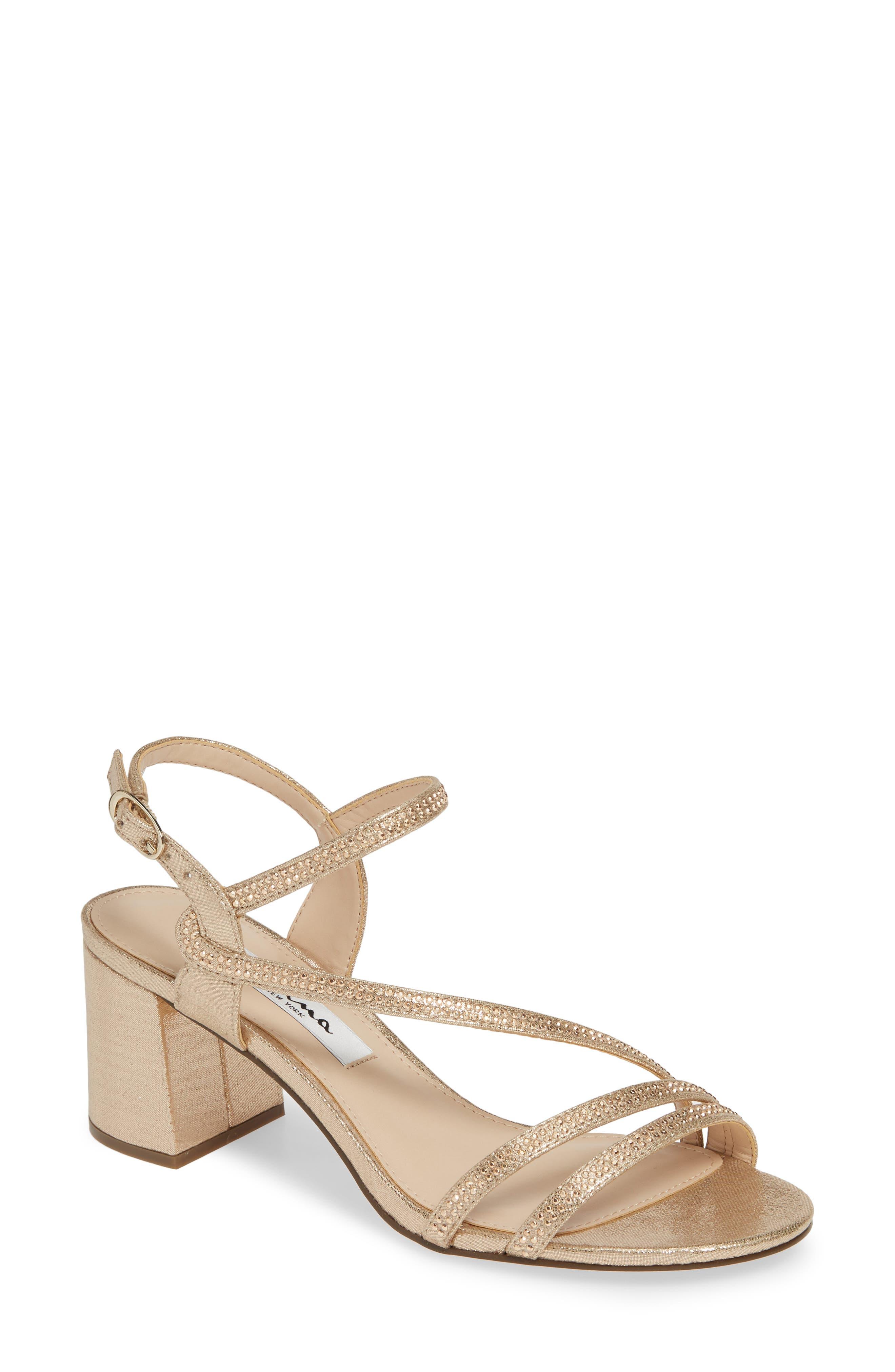 Nina Naura Block Heel Sandal, Beige