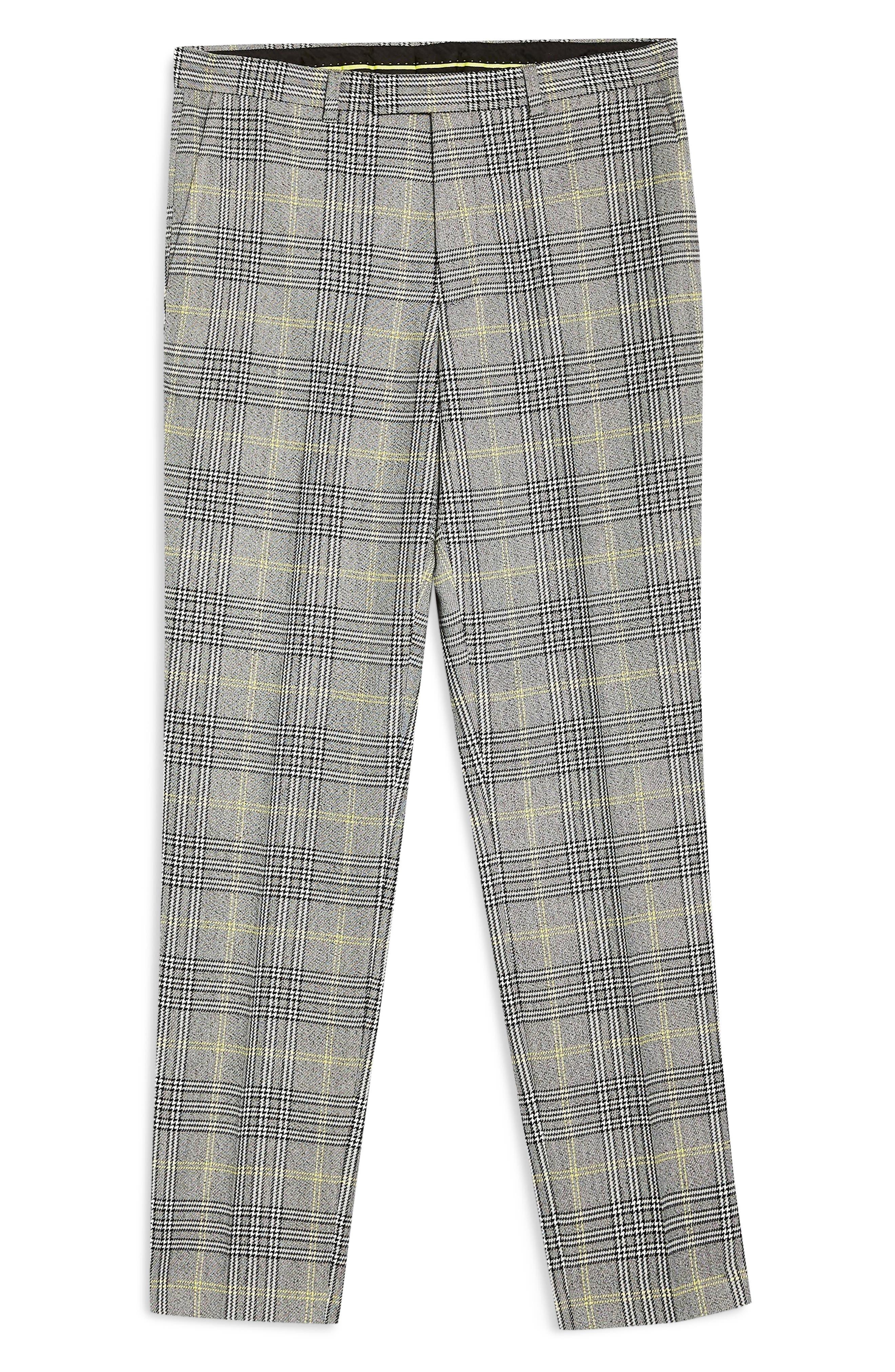 TOPMAN, Check Slim Trousers, Alternate thumbnail 5, color, GREY