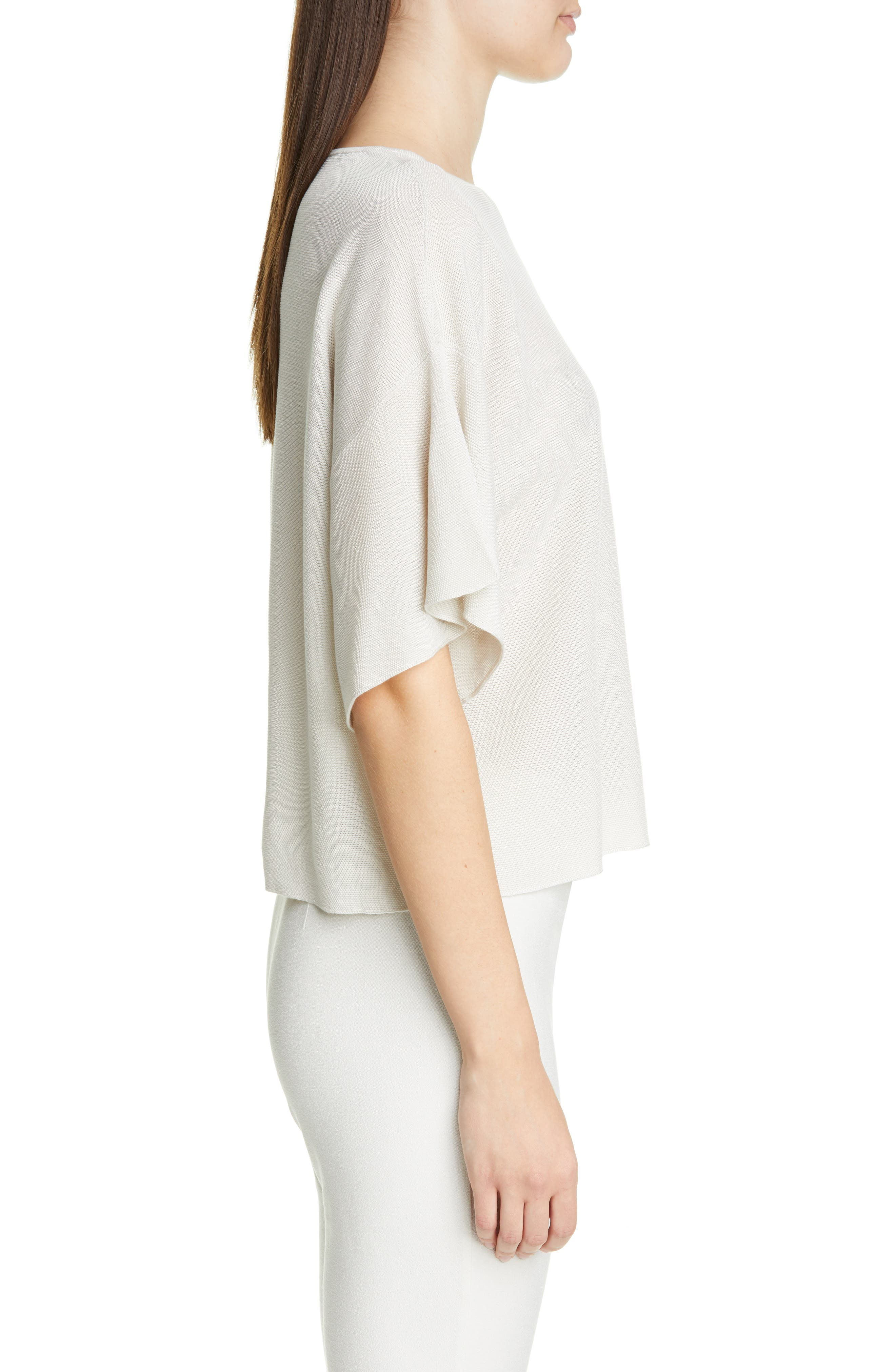 EILEEN FISHER, Elbow Sleeve Top, Alternate thumbnail 3, color, 100