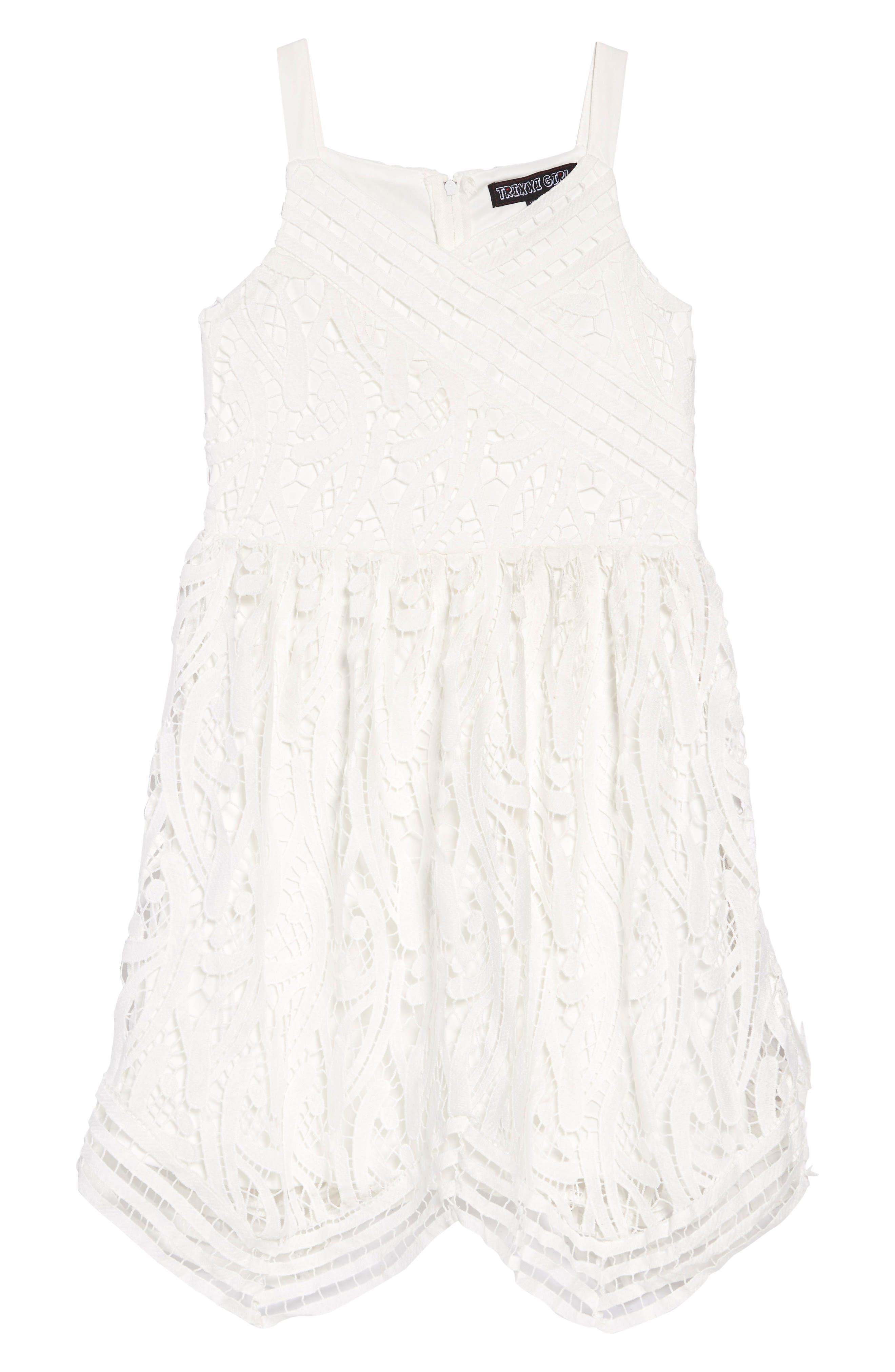 TRIXXI Guipure Lace Dress, Main, color, WHITE