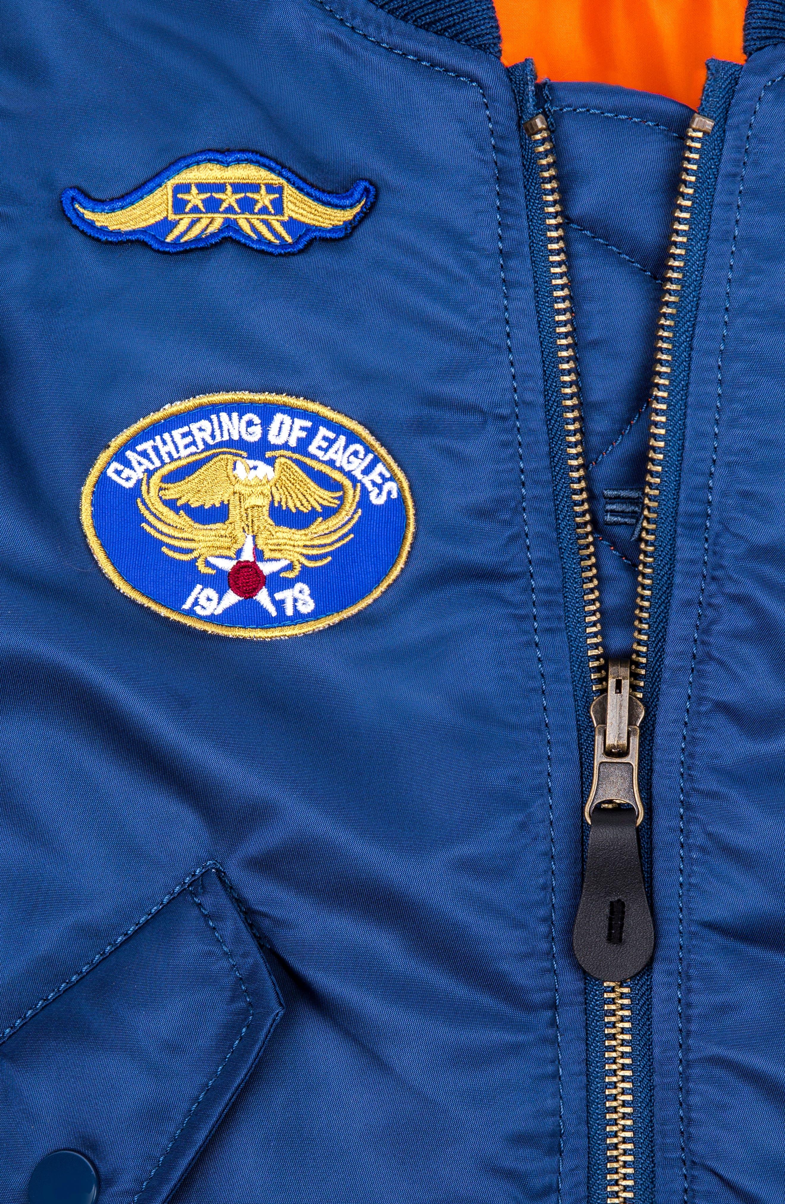 ALPHA INDUSTRIES, MA-1 Patch Flight Jacket, Alternate thumbnail 5, color, BLUE NO 9