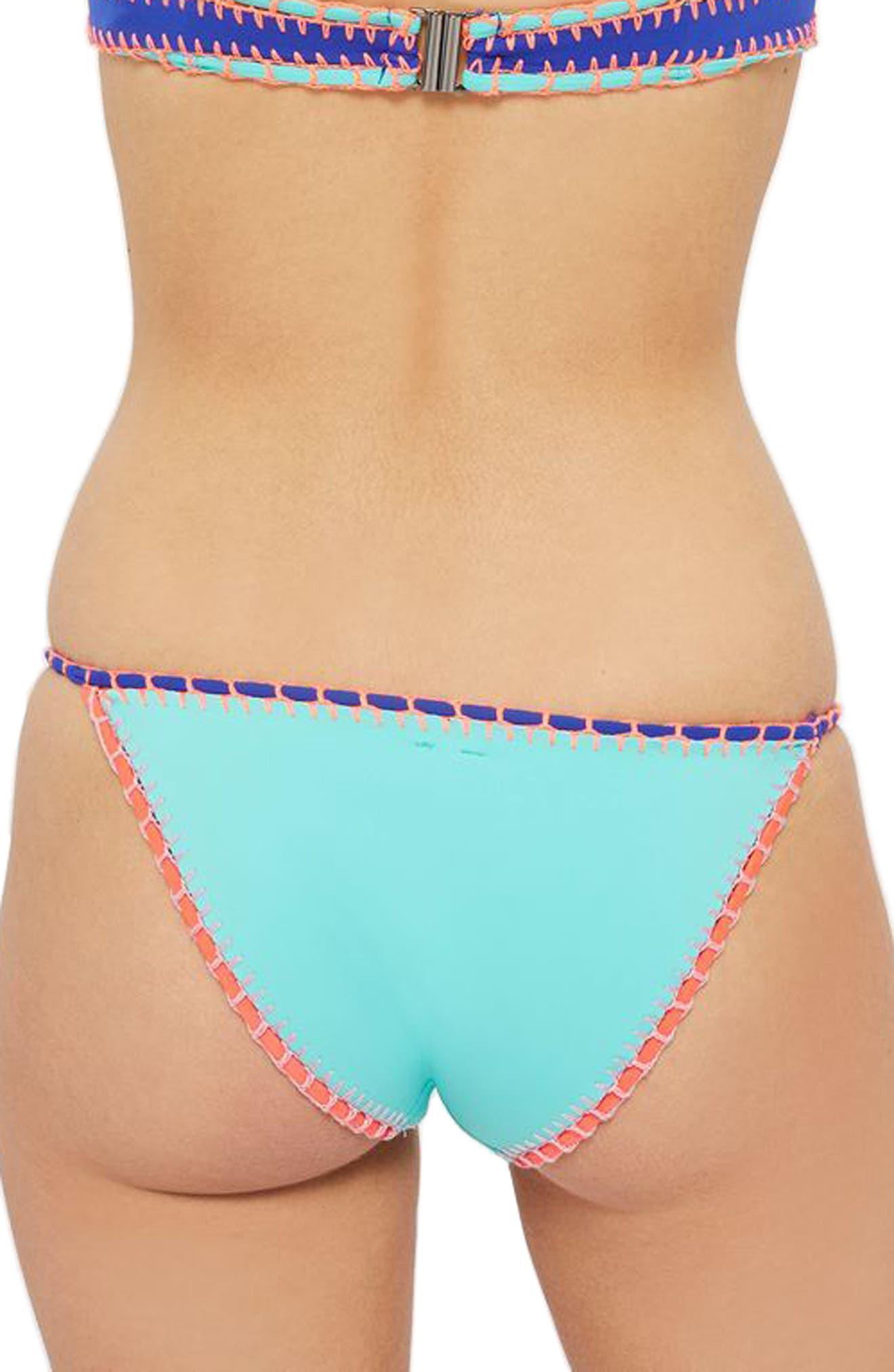 TOPSHOP, Embroidered Crochet Bikini Bottoms, Alternate thumbnail 2, color, 400