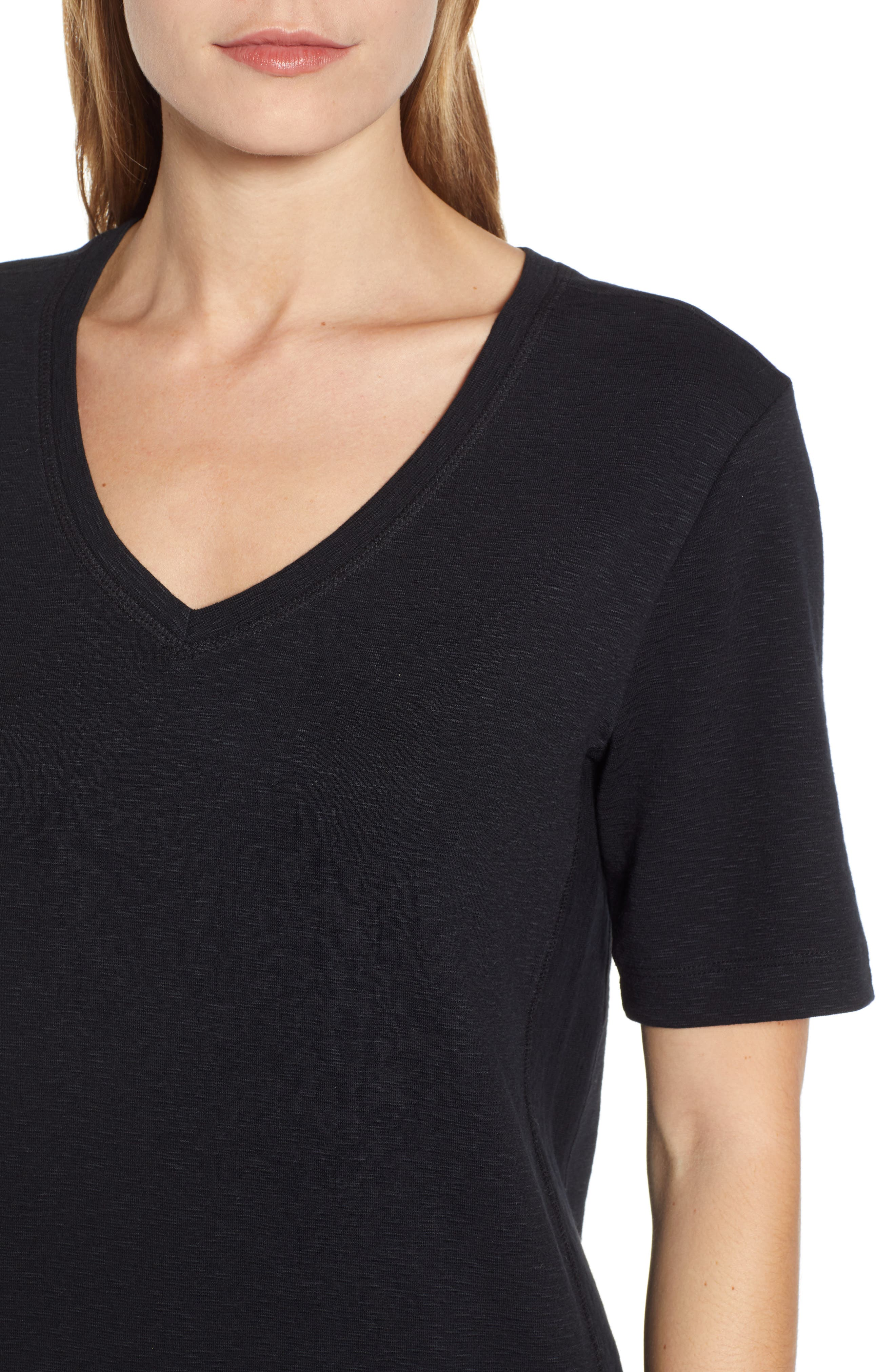 CASLON<SUP>®</SUP>, Slub Knit Dress, Alternate thumbnail 5, color, BLACK