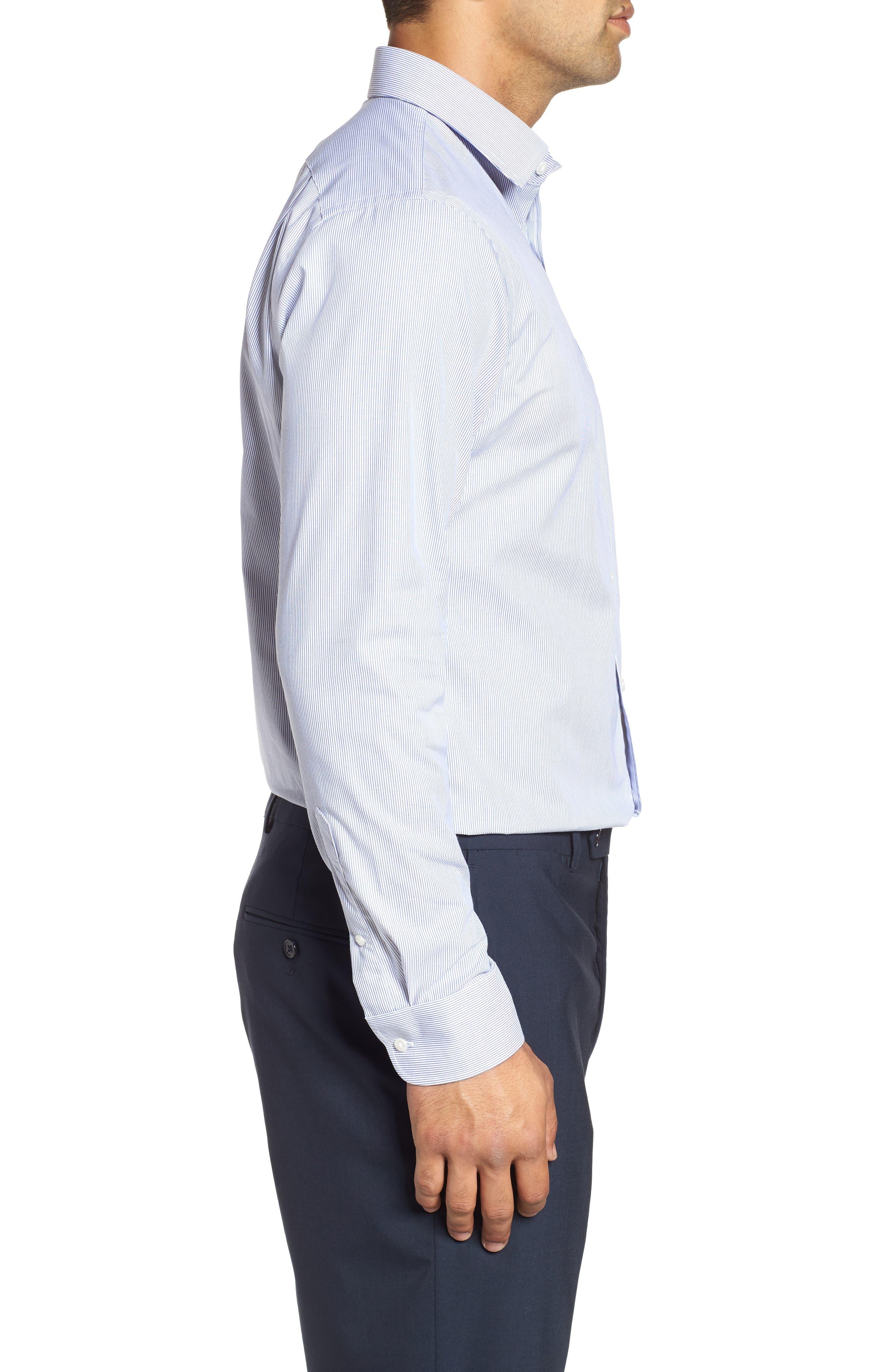 NORDSTROM MEN'S SHOP, Trim Fit Non-Iron Stripe Dress Shirt, Alternate thumbnail 4, color, NAVY PATRIOT