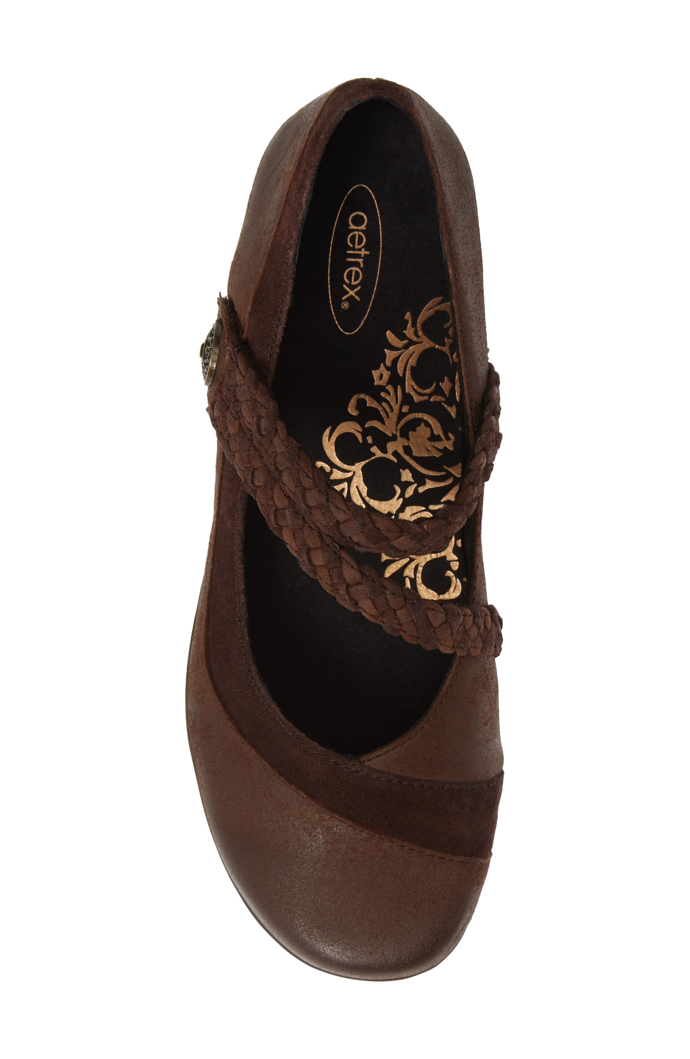 AETREX, 'Ada' Mary Jane, Alternate thumbnail 5, color, CHOCOLATE LEATHER