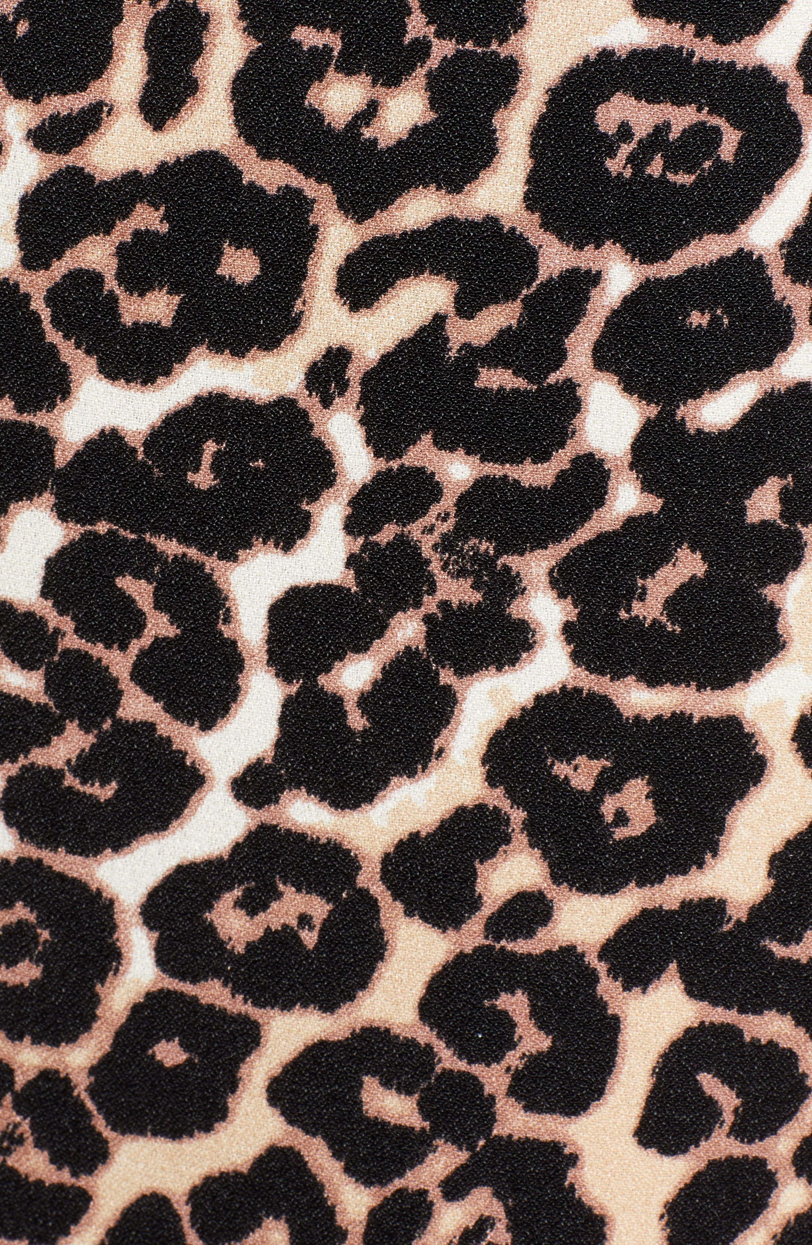 AFRM, Carmen Corset Detail Print Dress, Alternate thumbnail 6, color, LEOPARD