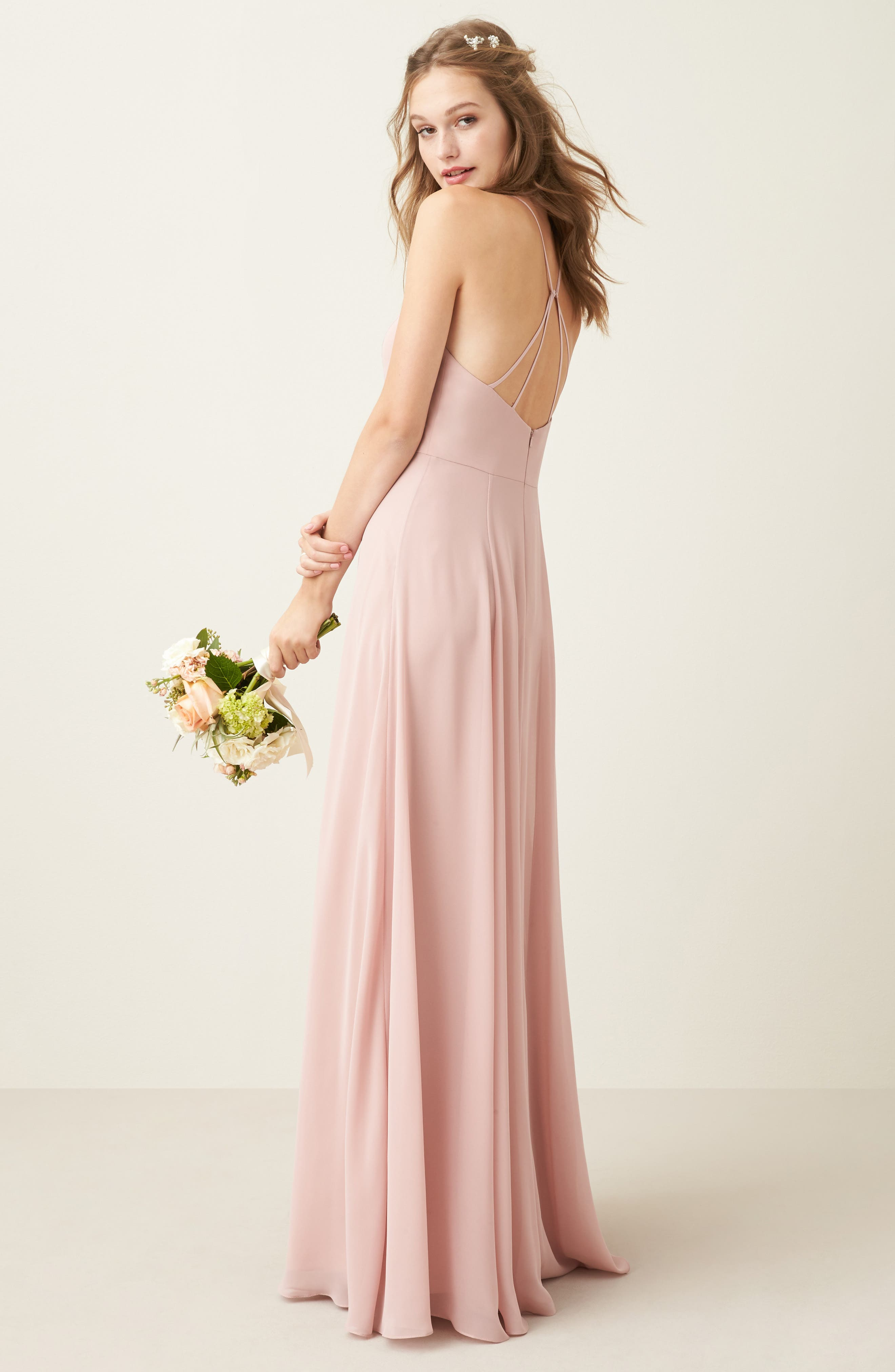 JENNY YOO, Kayla A-Line Halter Gown, Alternate thumbnail 8, color, WHIPPED APRICOT