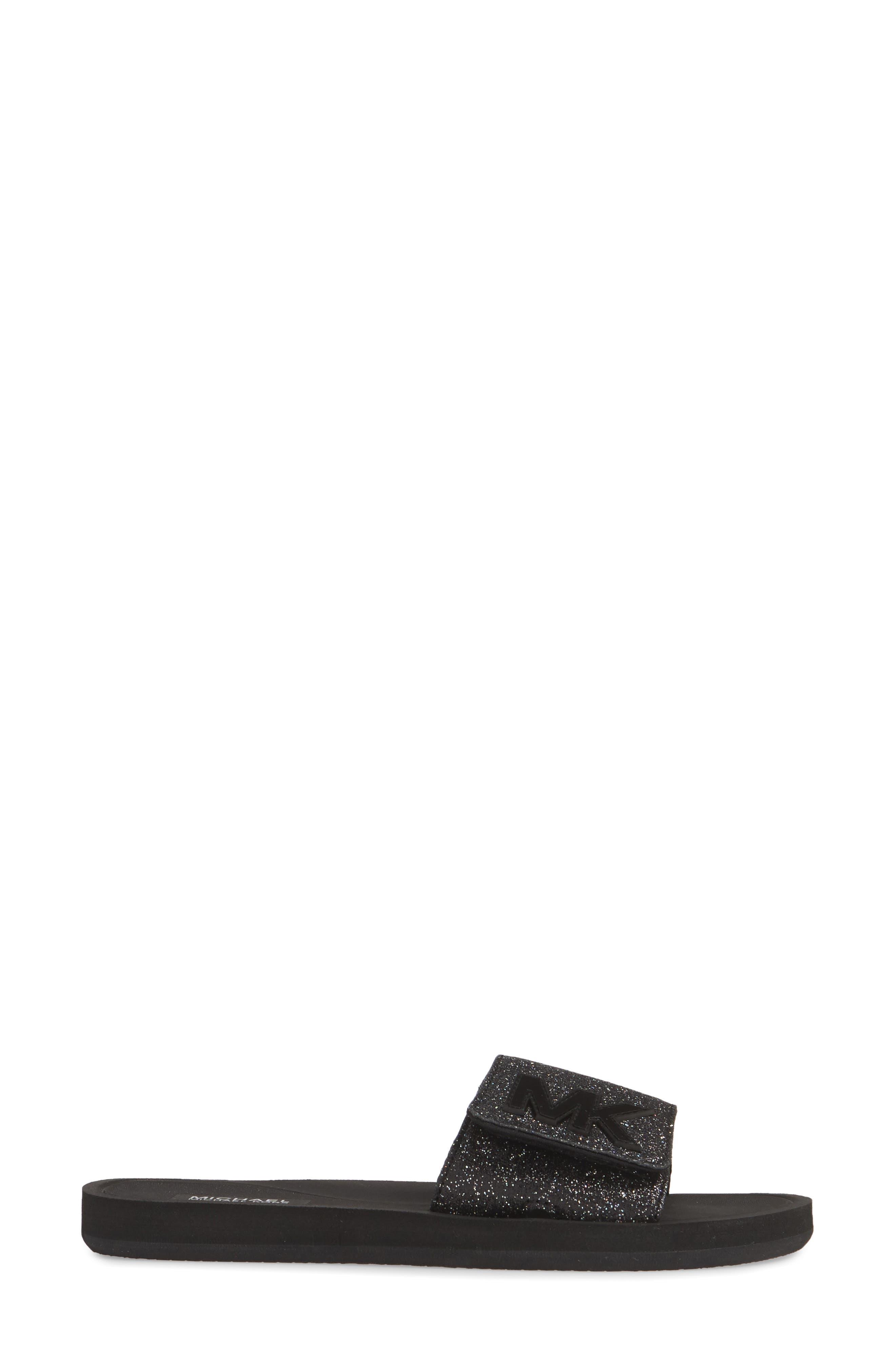 MICHAEL MICHAEL KORS, MK Logo Slide Sandal, Alternate thumbnail 3, color, BLACK GLITTER
