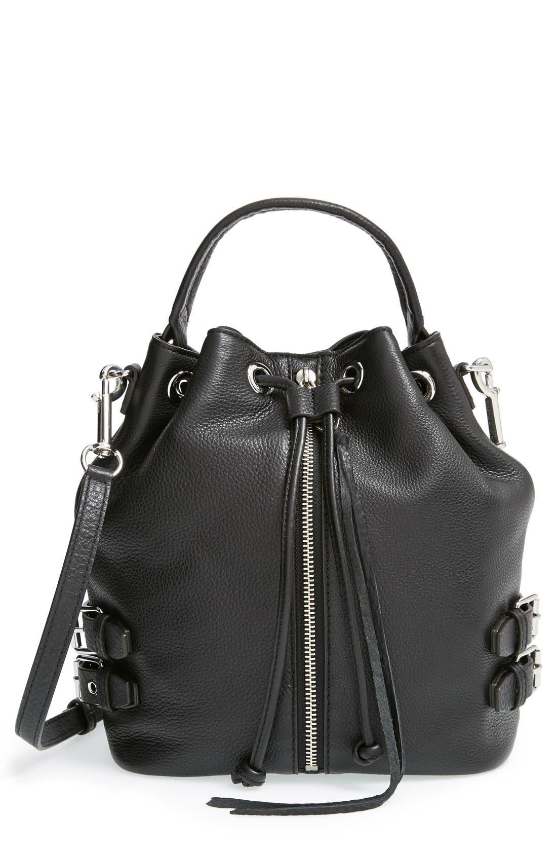 REBECCA MINKOFF 'Moto' Bucket Bag, Main, color, 001