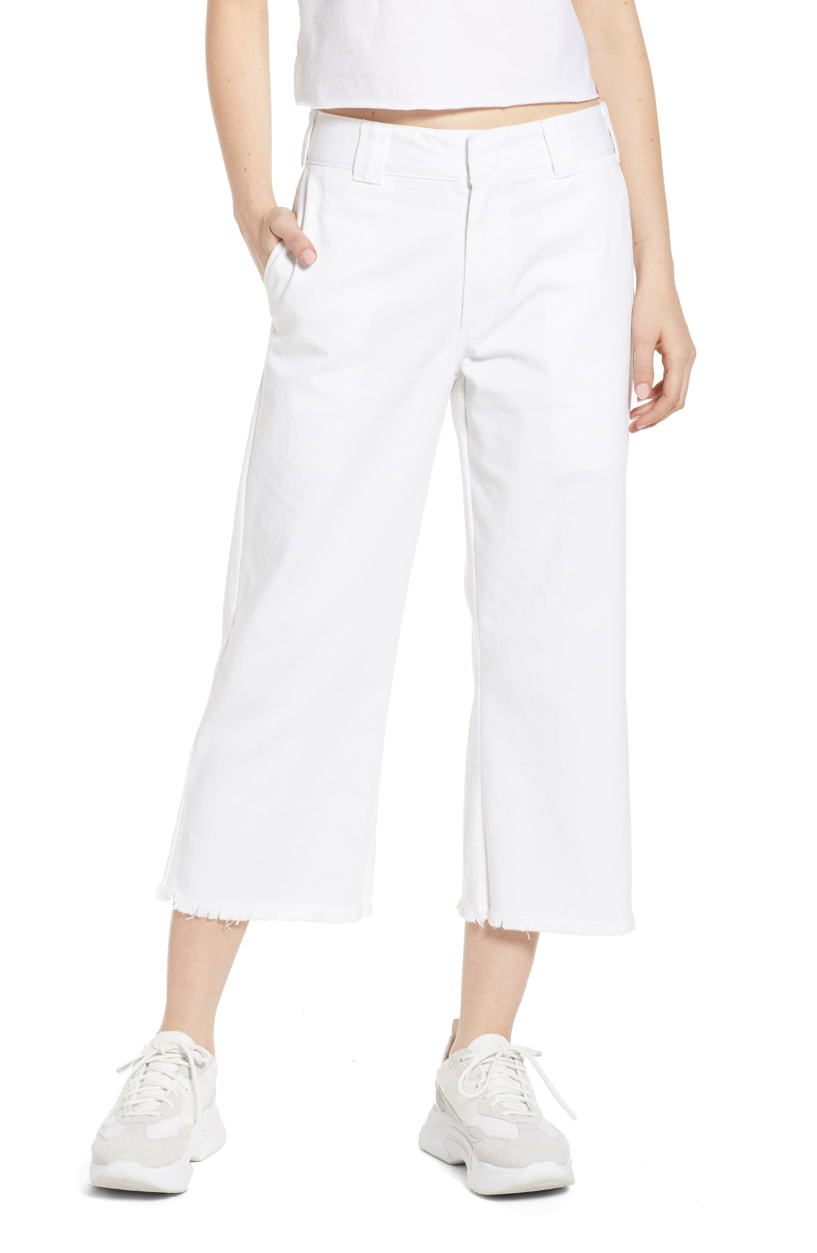 DICKIES Fray Hem Crop Work Pants, Main, color, WHITE