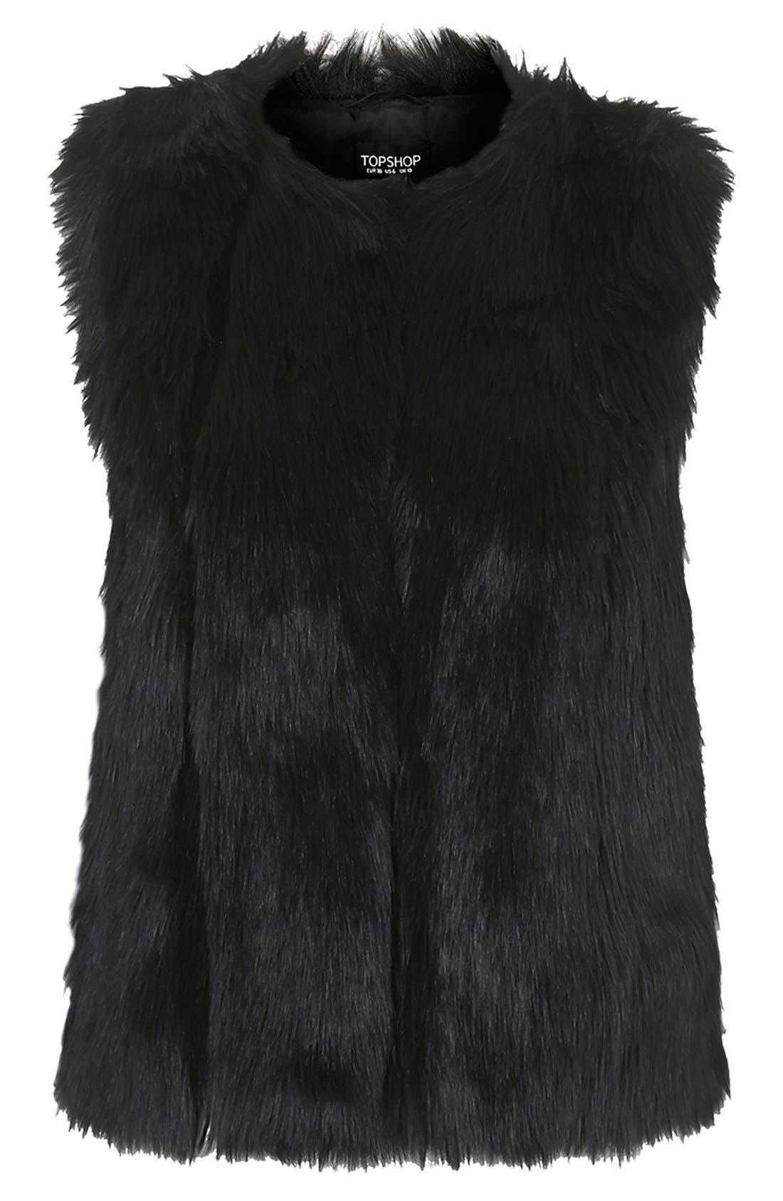 TOPSHOP, 'Leah' Faux Fur Vest, Alternate thumbnail 2, color, 001