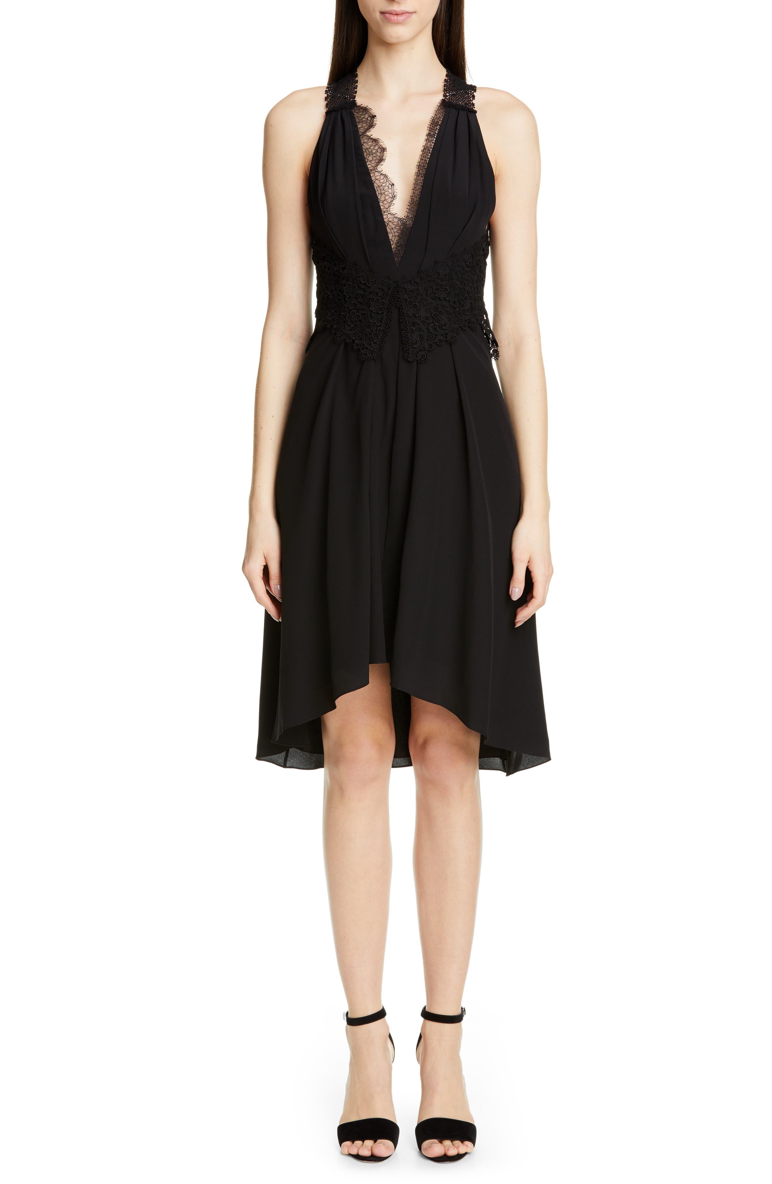 VICTORIA BECKHAM, Mixed Lace Trim High/Low Silk Dress, Main thumbnail 1, color, BLACK