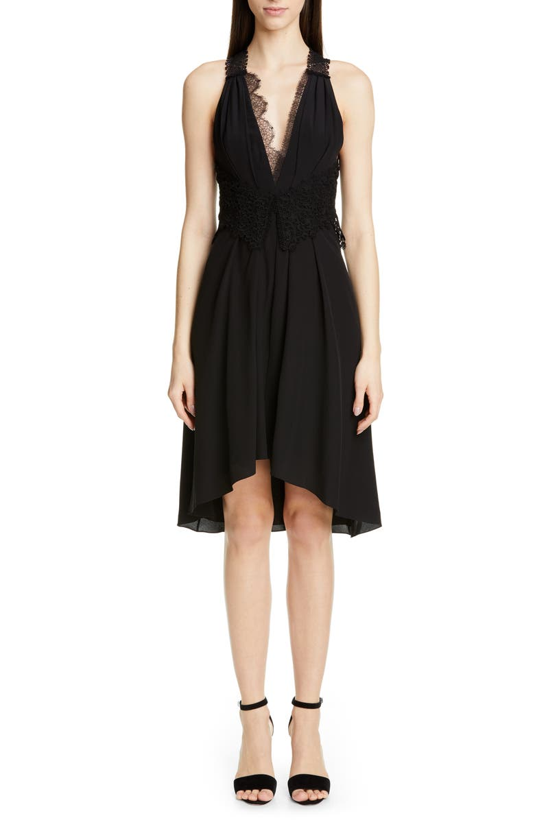 Victoria Beckham Dresses MIXED LACE TRIM HIGH/LOW SILK DRESS