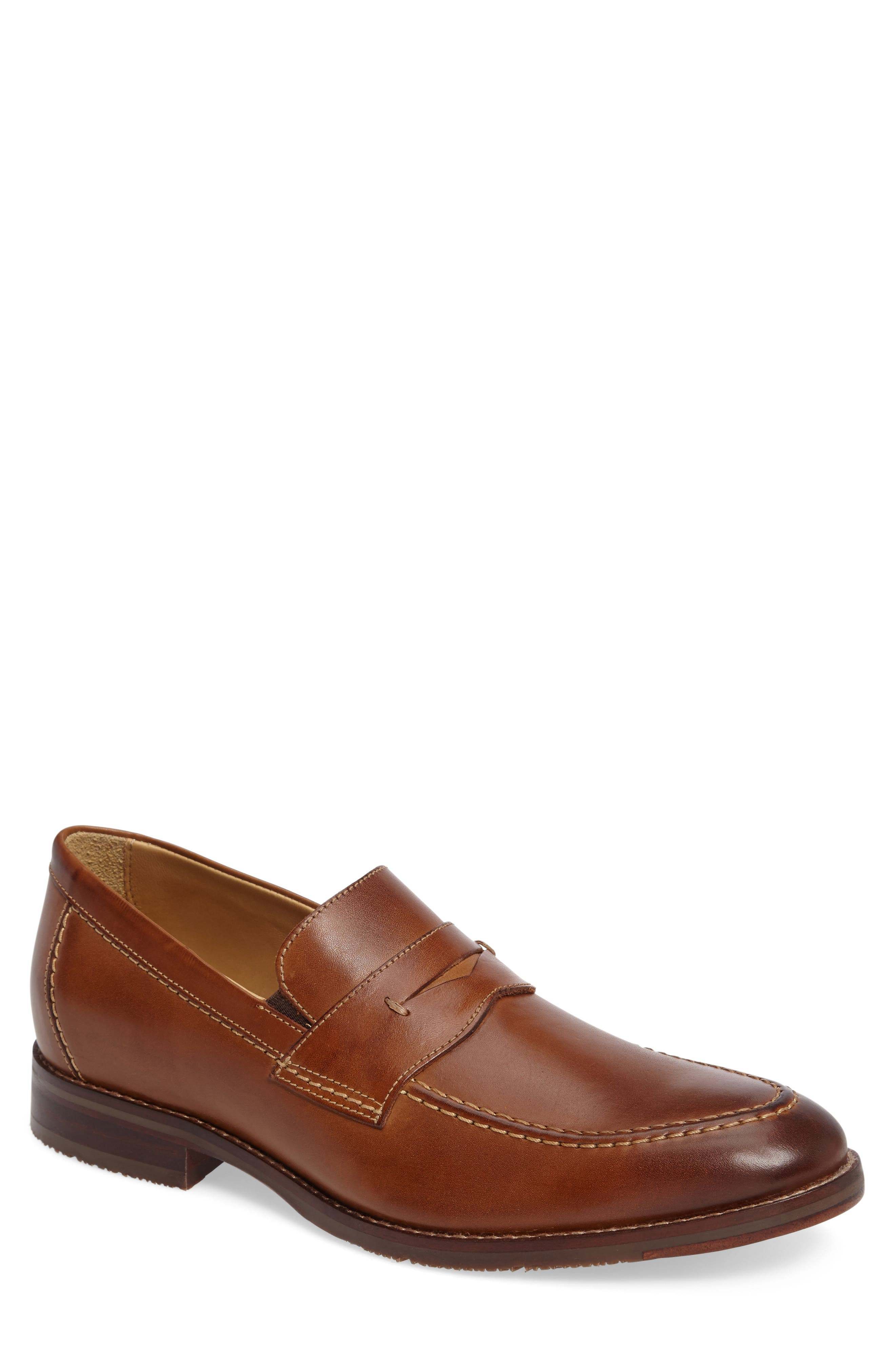 JOHNSTON & MURPHY, Garner Penny Loafer, Main thumbnail 1, color, TAN LEATHER