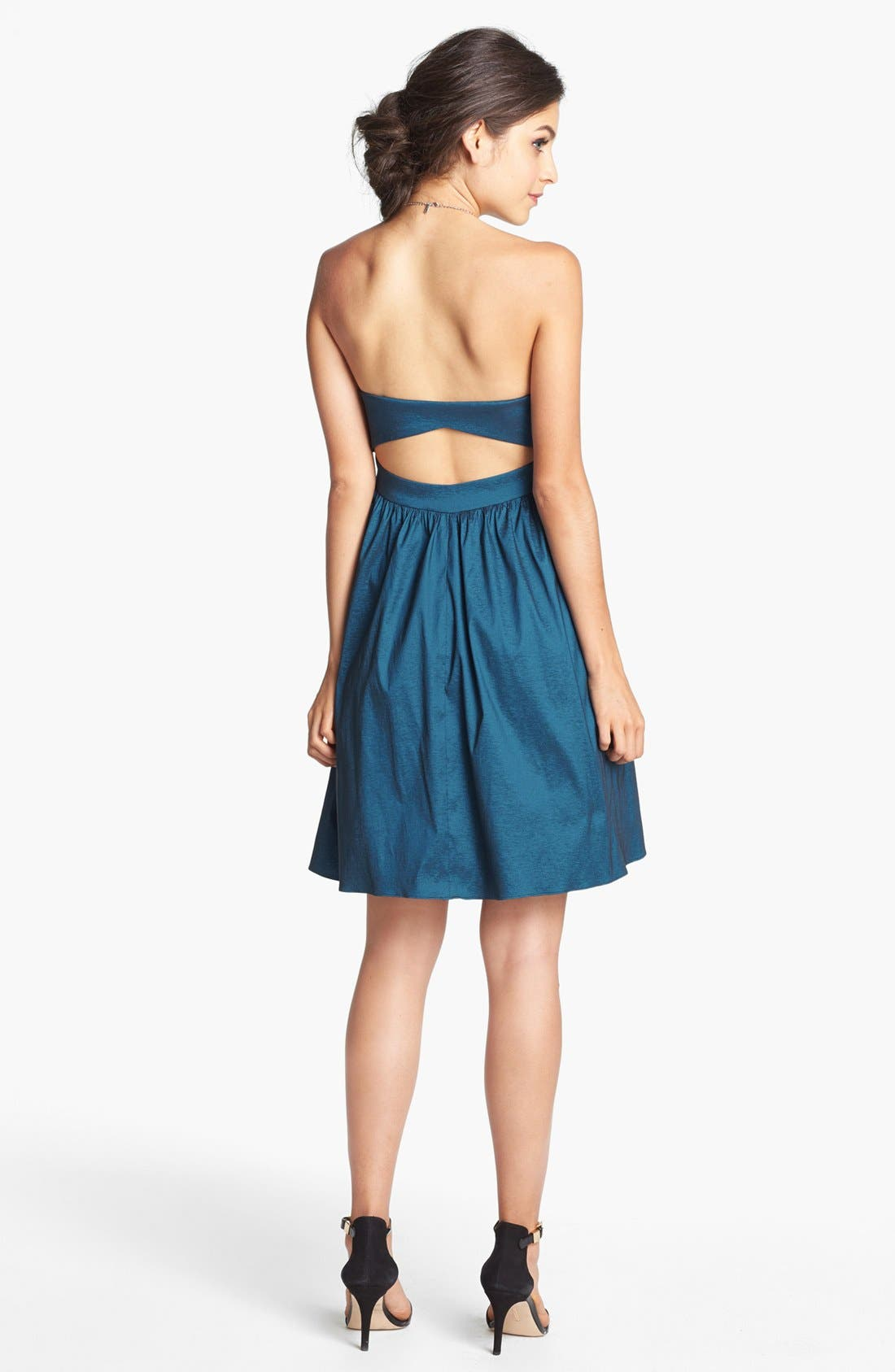 HAILEY BY ADRIANNA PAPELL, Bow Detail Taffeta Fit & Flare Dress, Alternate thumbnail 3, color, 403