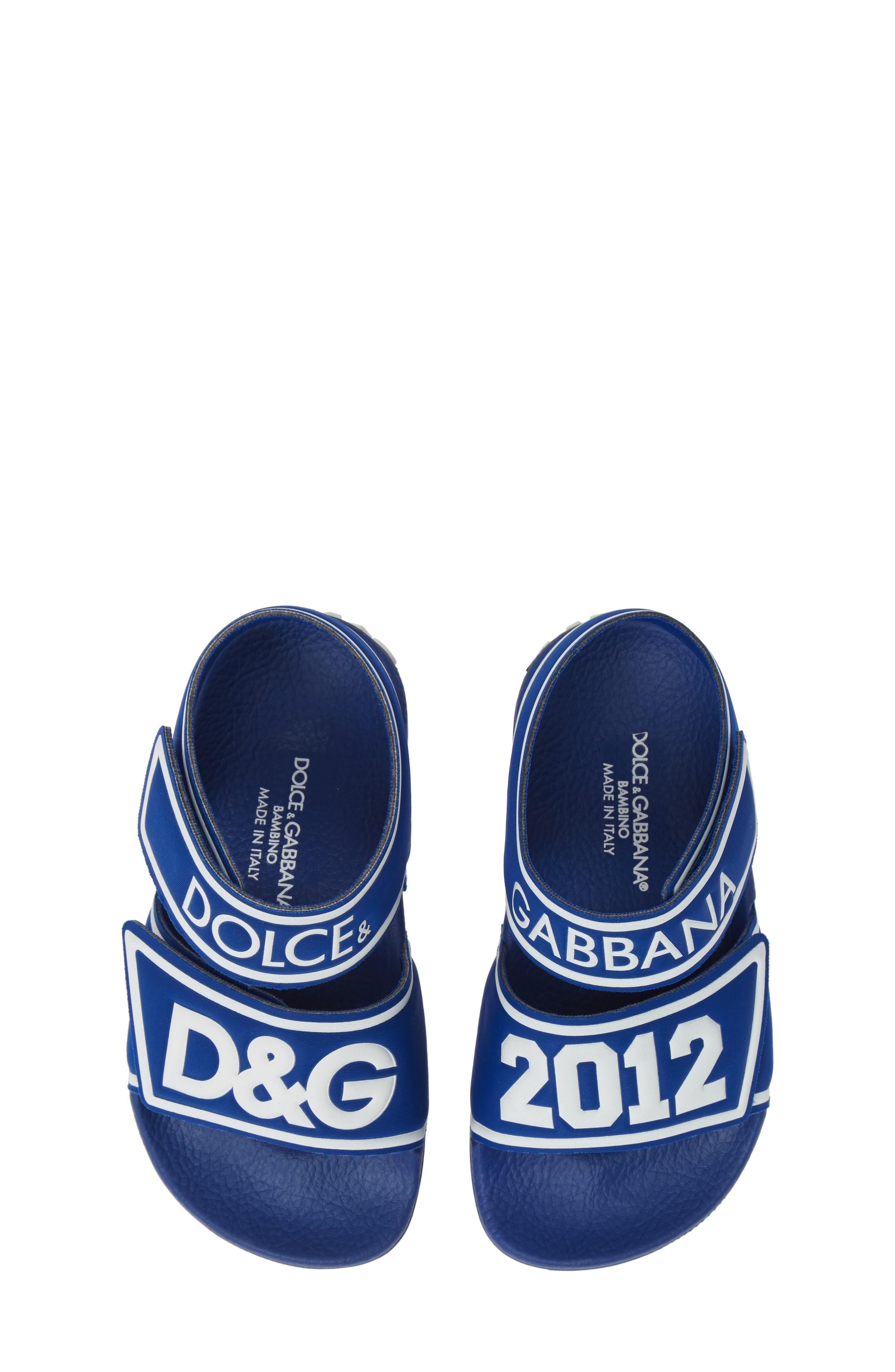 DOLCE&GABBANA, Jelly Fisherman Sandal, Main thumbnail 1, color, BLUE/ WHITE